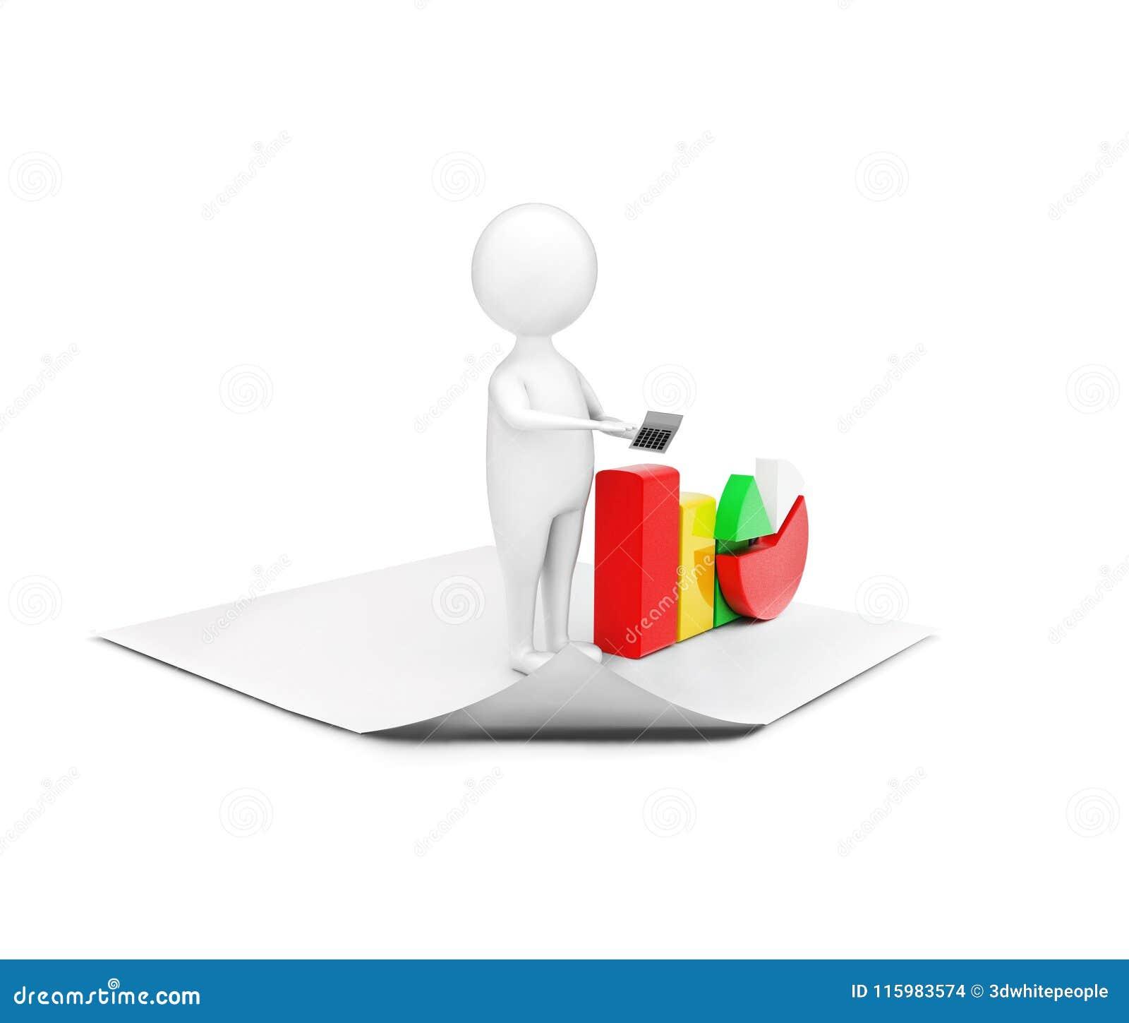 человек 3d стоя на чистой бумаге представляя долевую диограмму и grap бара