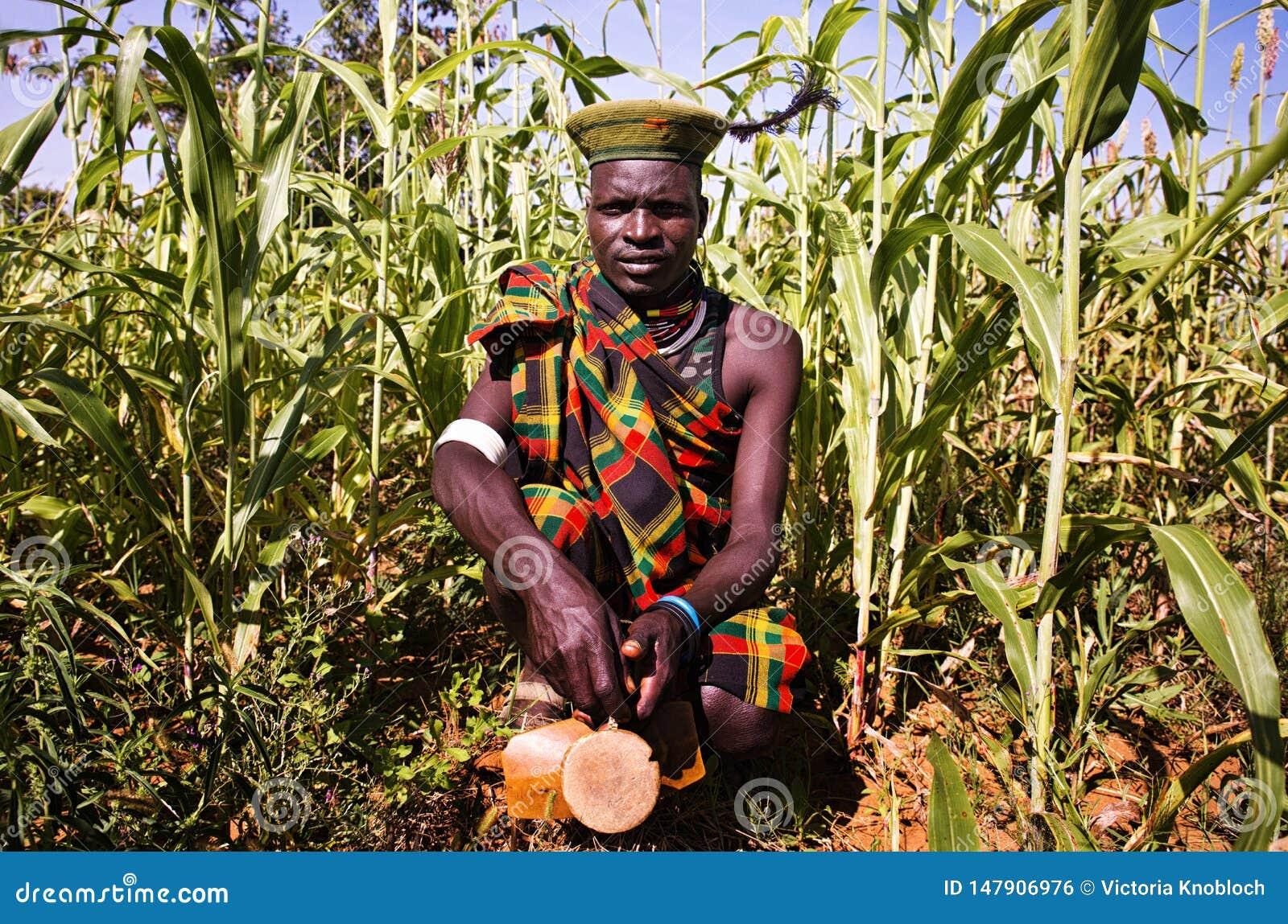 Человек Karamojong в Уганде