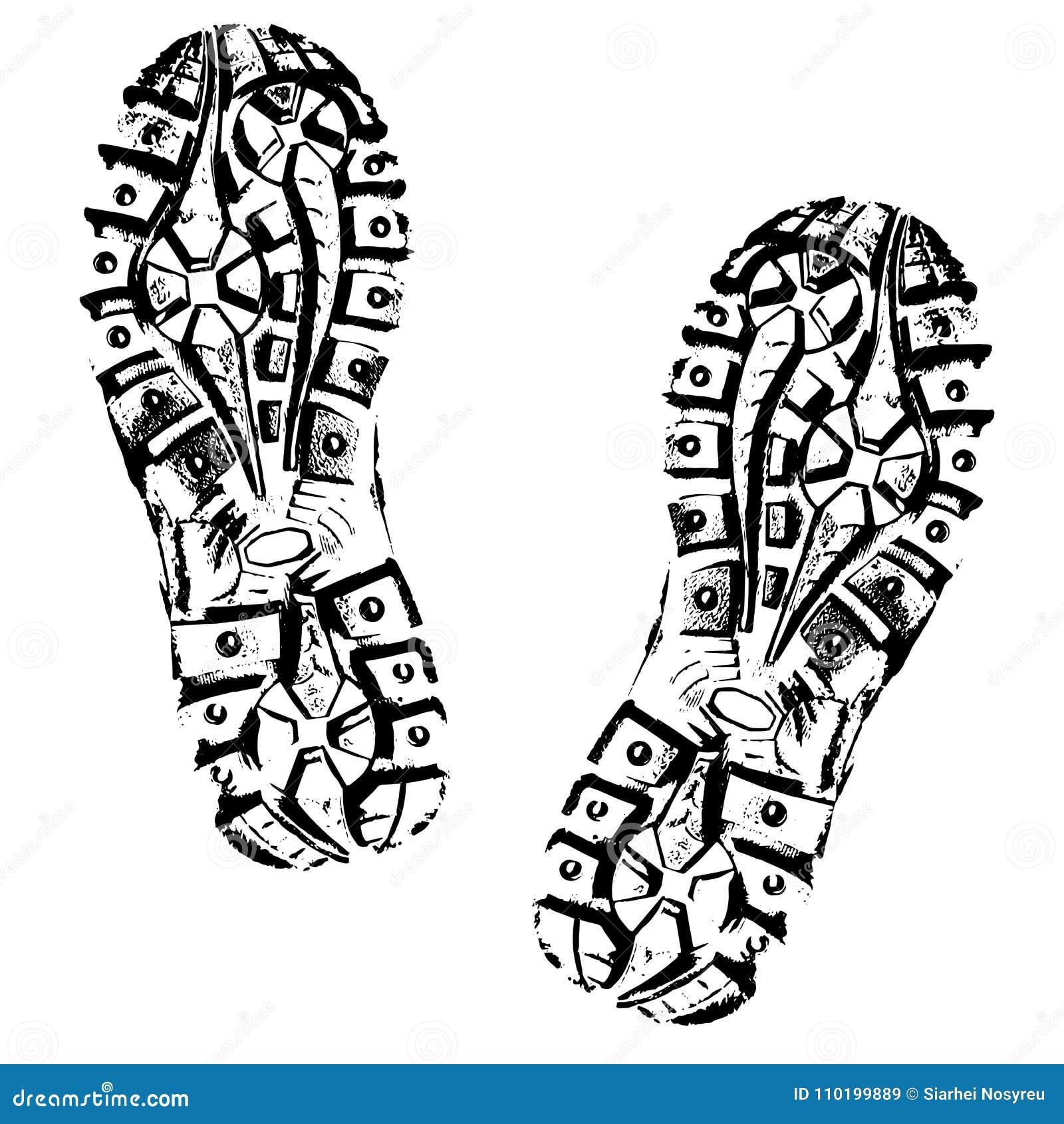 Человеческий силуэт ботинка следов ноги Изолированный на белой предпосылке, значок вектора Ботинок трассировки