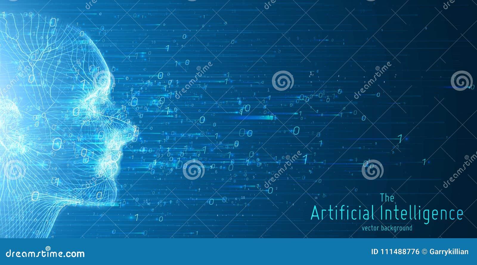 Человеческое большое визуализирование данных Футуристическая концепция искусственного интеллекта Дизайн разума кибер астетический