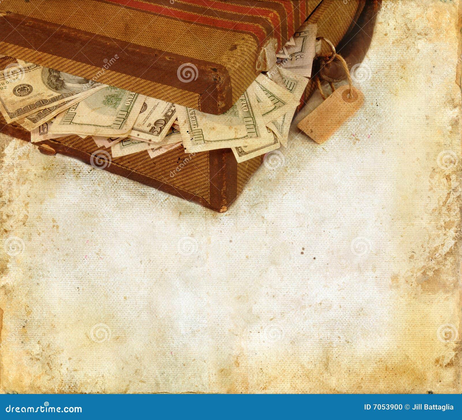 чемодан grunge предпосылки заполненный деньгами