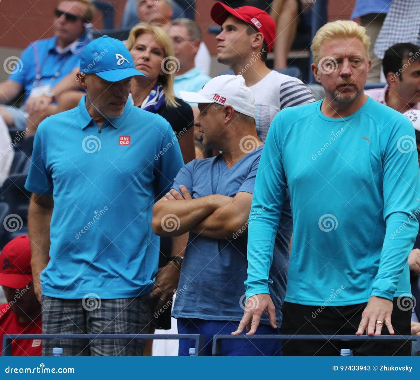 Чемпион Boris Becker r грэнд слэм и ` s Novak Djokovic команда во время США раскрывают финальный матч 2016 на Arthur Ashe Stadium