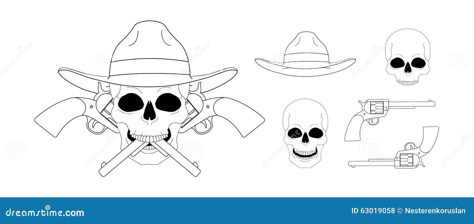 Череп в эмблеме пистолетов шляпы 2 пересеченной линейно