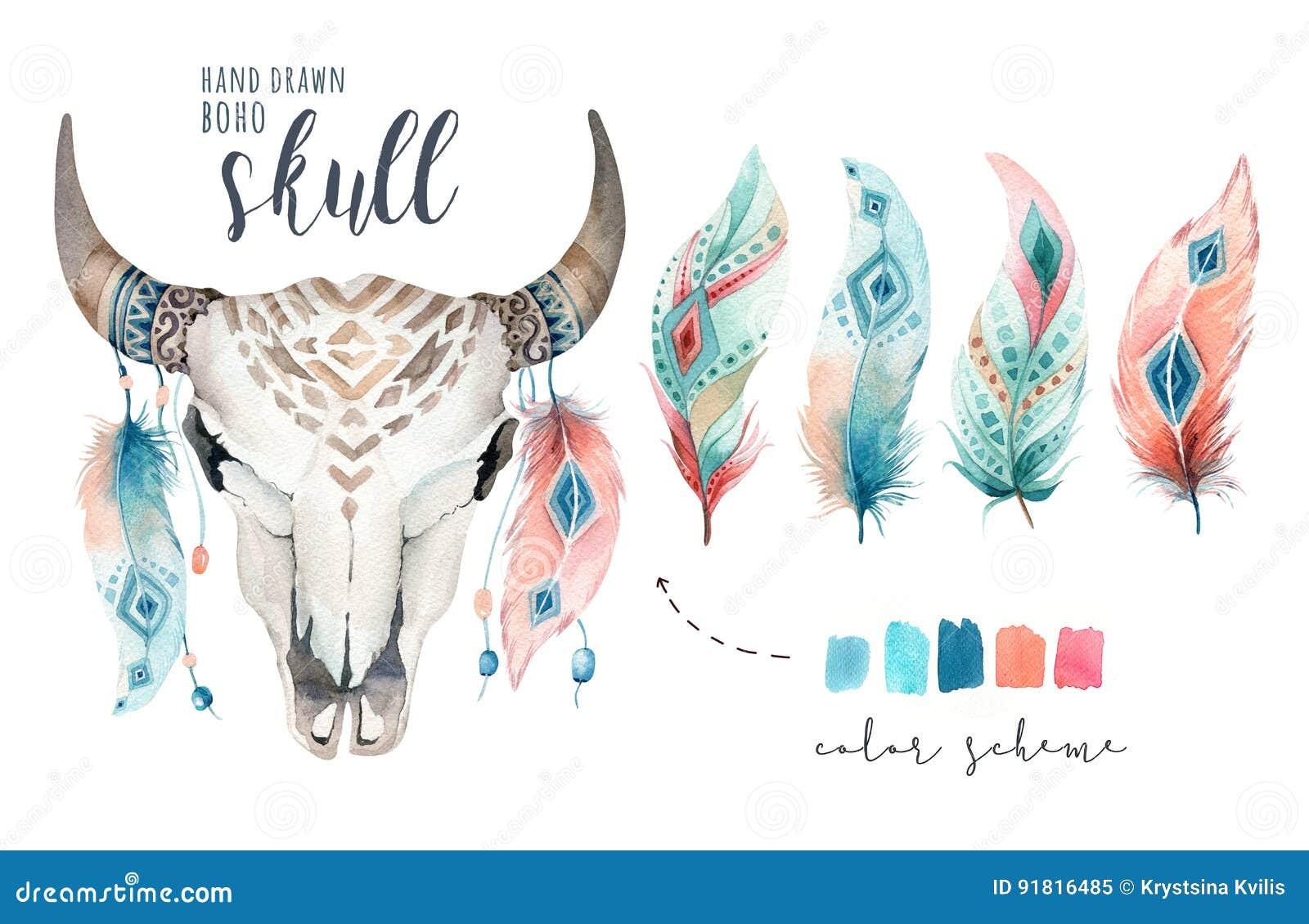 Череп и перо коровы акварели богемские Западные млекопитающие Antlers печати украшения boho оленей битника Boho Цветы