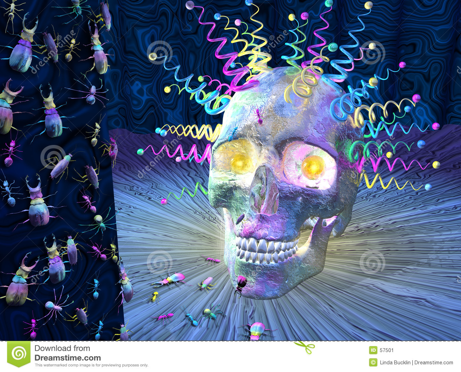 череп насекомых психоделический