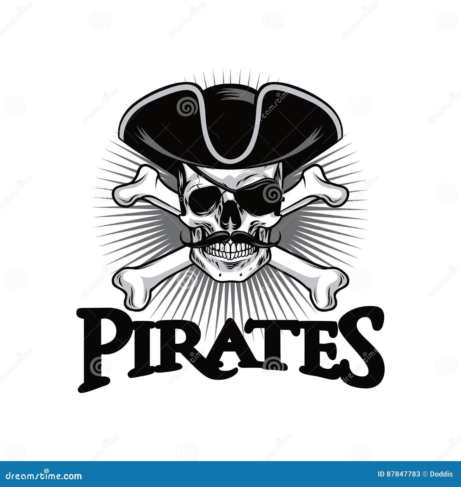 Череп пирата с шляпой косточек креста усика и иллюстрацией вектора дизайна логотипа Eyepatch