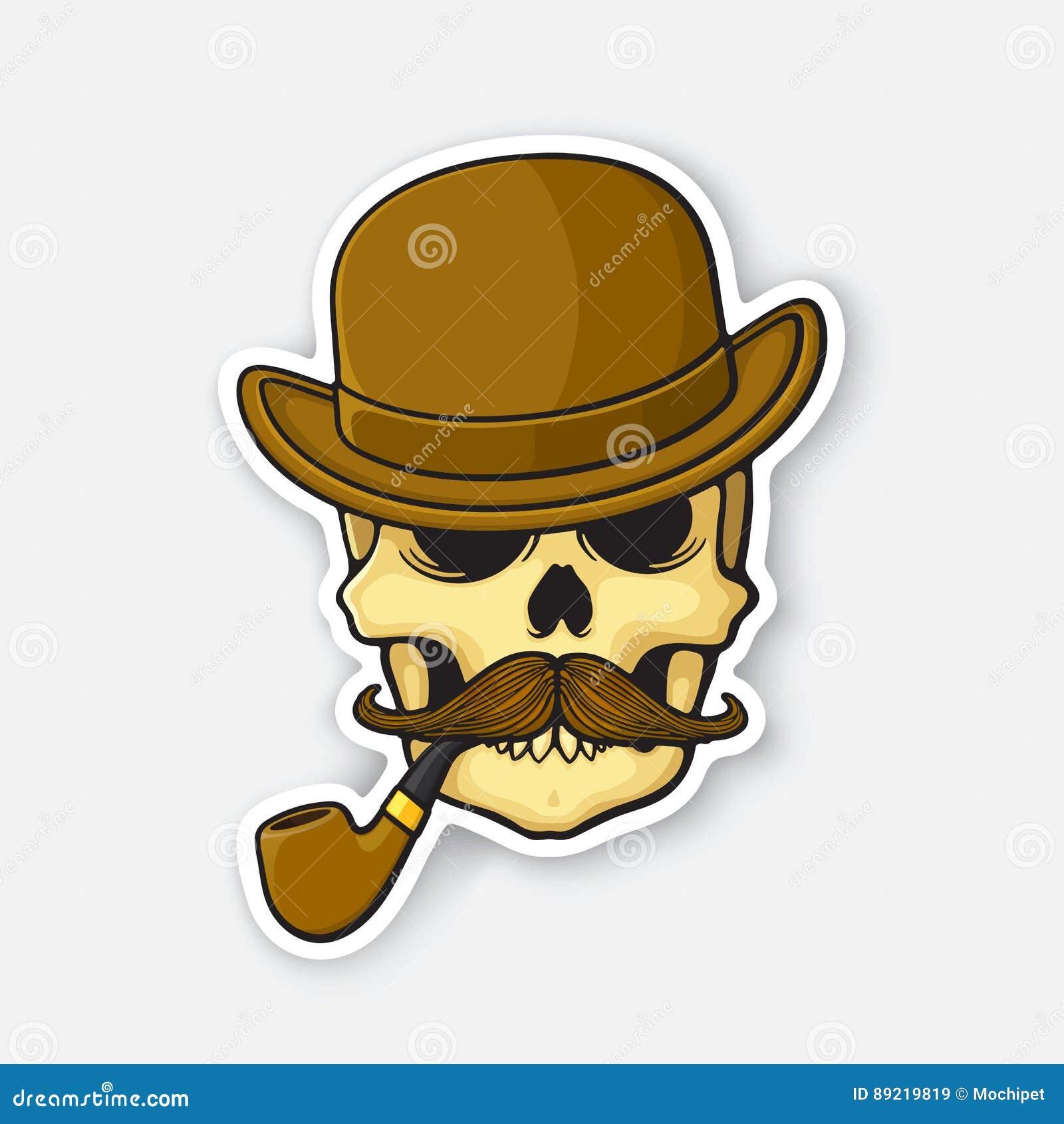 Череп стикера джентльмена с усиком и куря трубой в котелке
