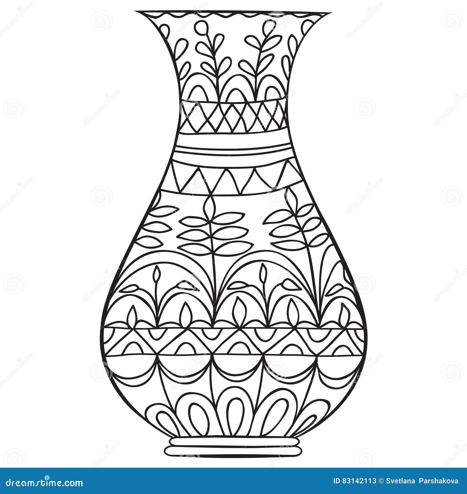 Черная ваза doodle для цветков
