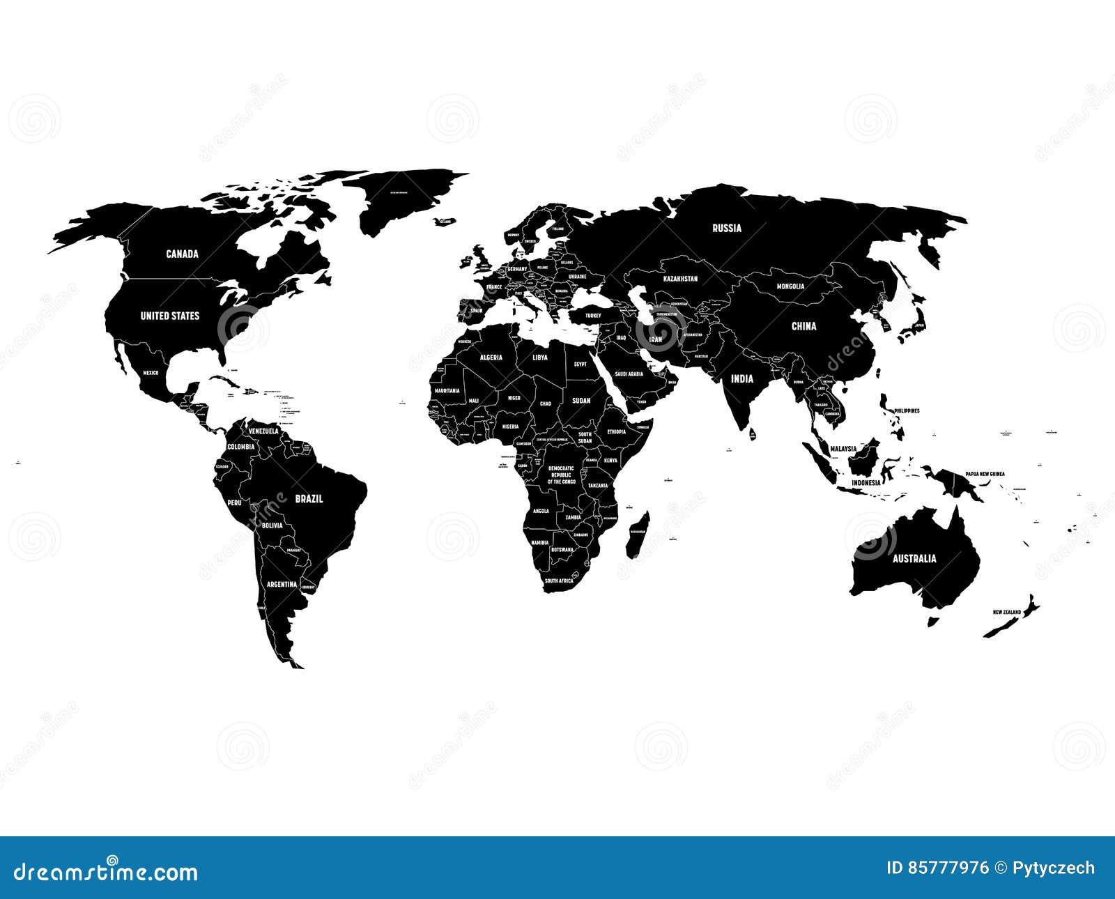 Черная политическая карта мира с границами страны и белыми ярлыками имени положения Нарисованная рукой упрощенная иллюстрация век
