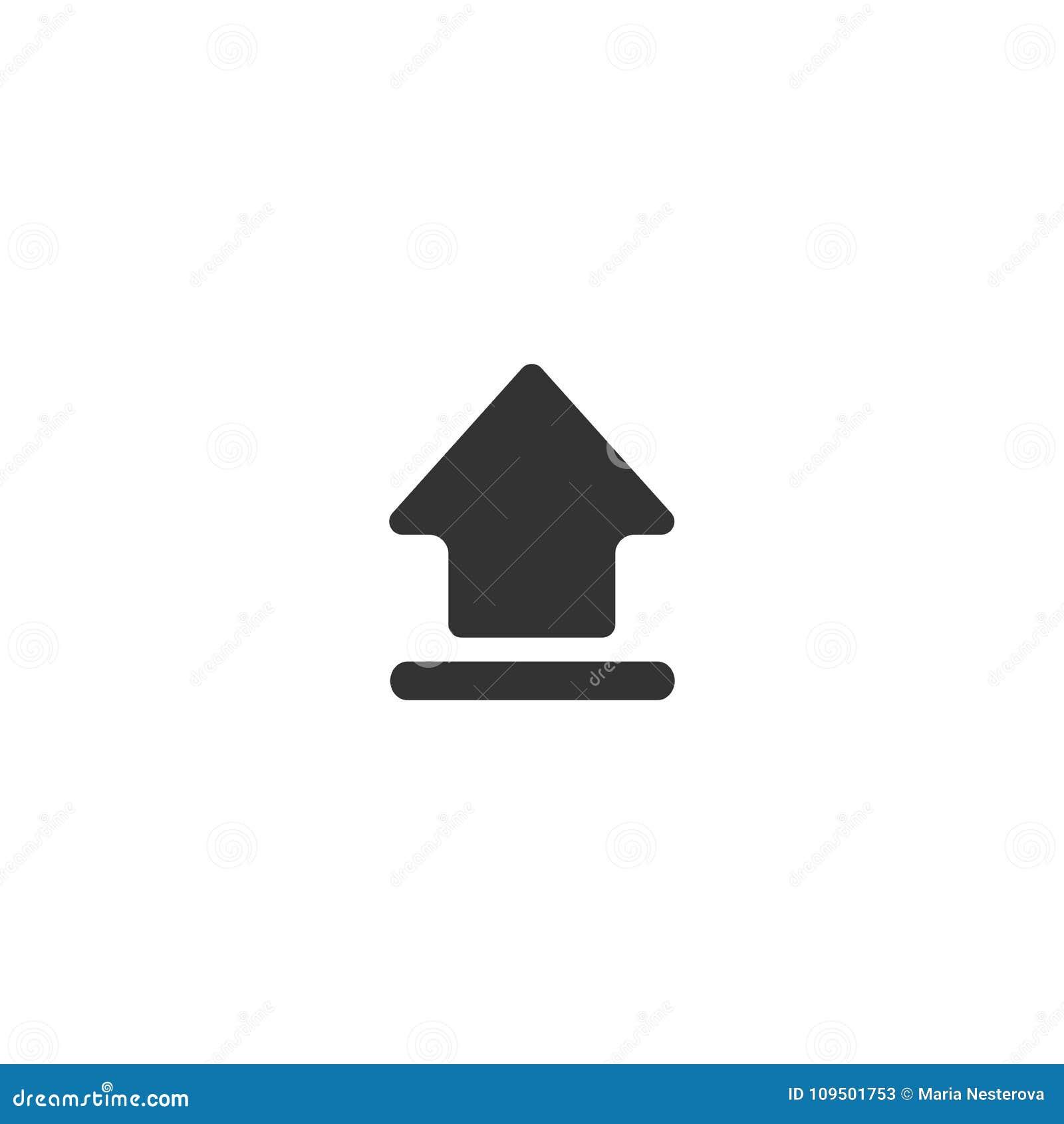 Черная стрелка вверх по значку Изолировано на белизне Значок загрузки Знак подъема