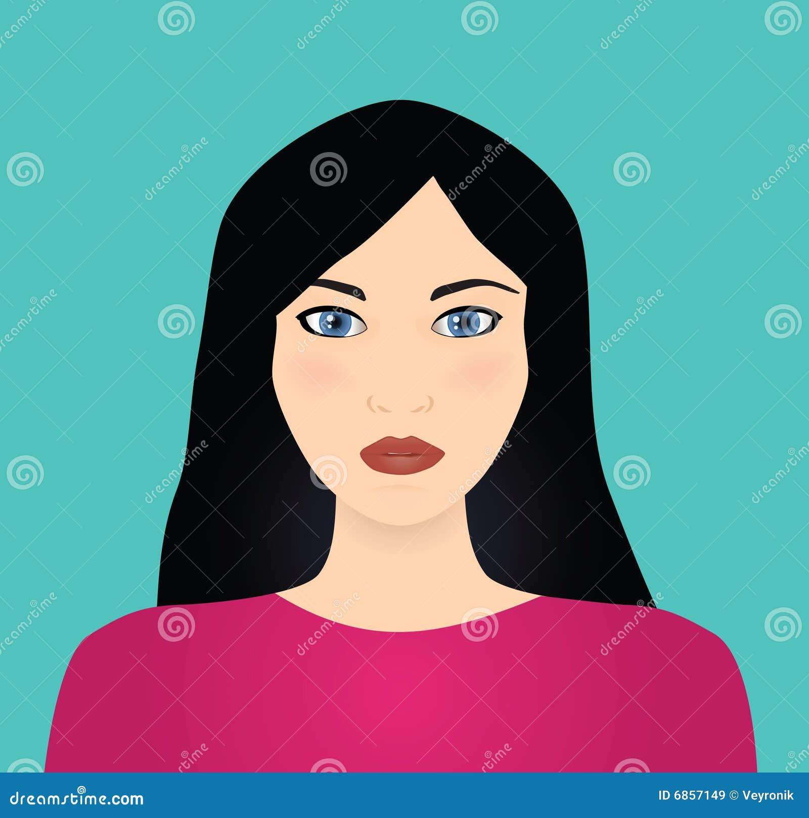 черная с волосами женщина вектора