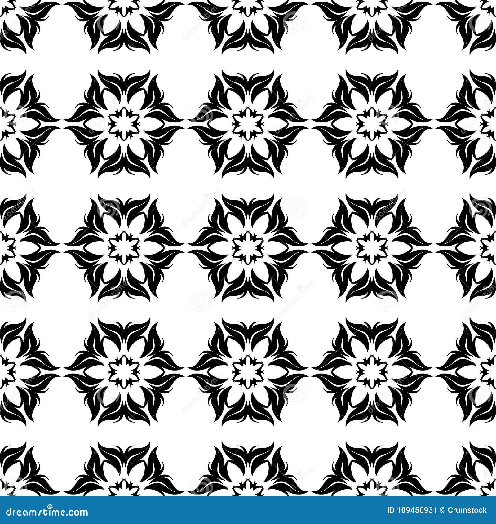 Черная флористическая безшовная картина на белой предпосылке