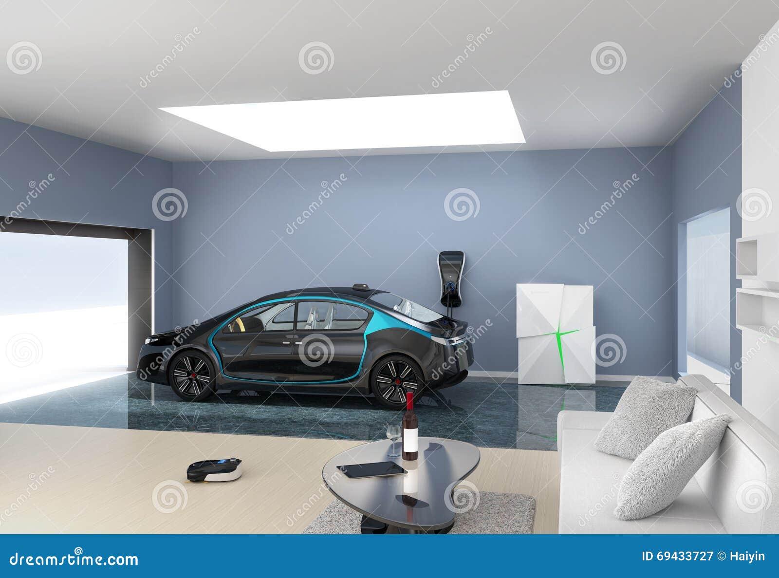 Черная электрическая автостоянка в современный гараж