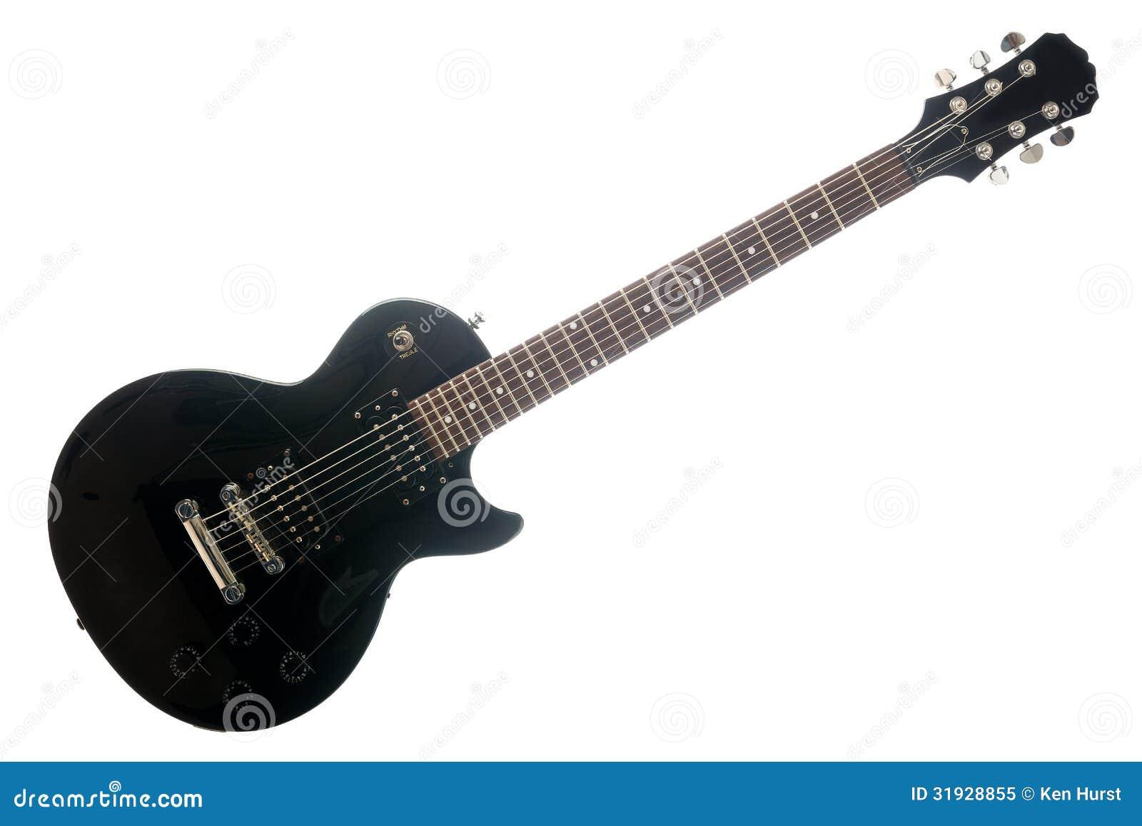Черная электрическая гитара