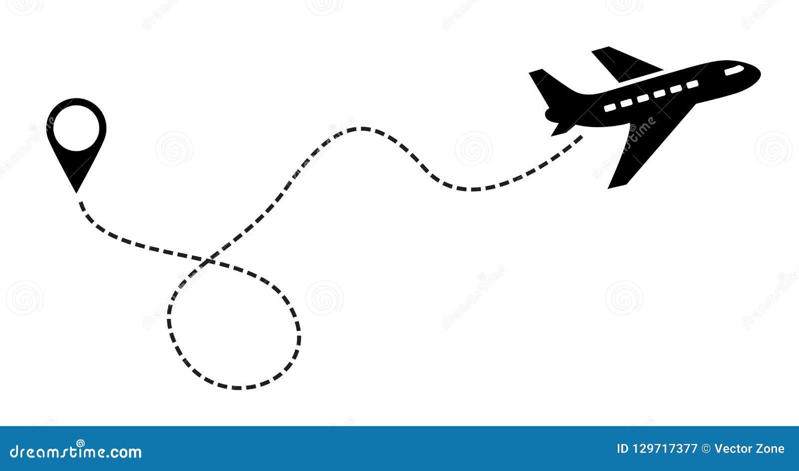 Чернота значка плоского вектора Символ для карты, воздушное судно ярлыка Editable иллюстрация хода