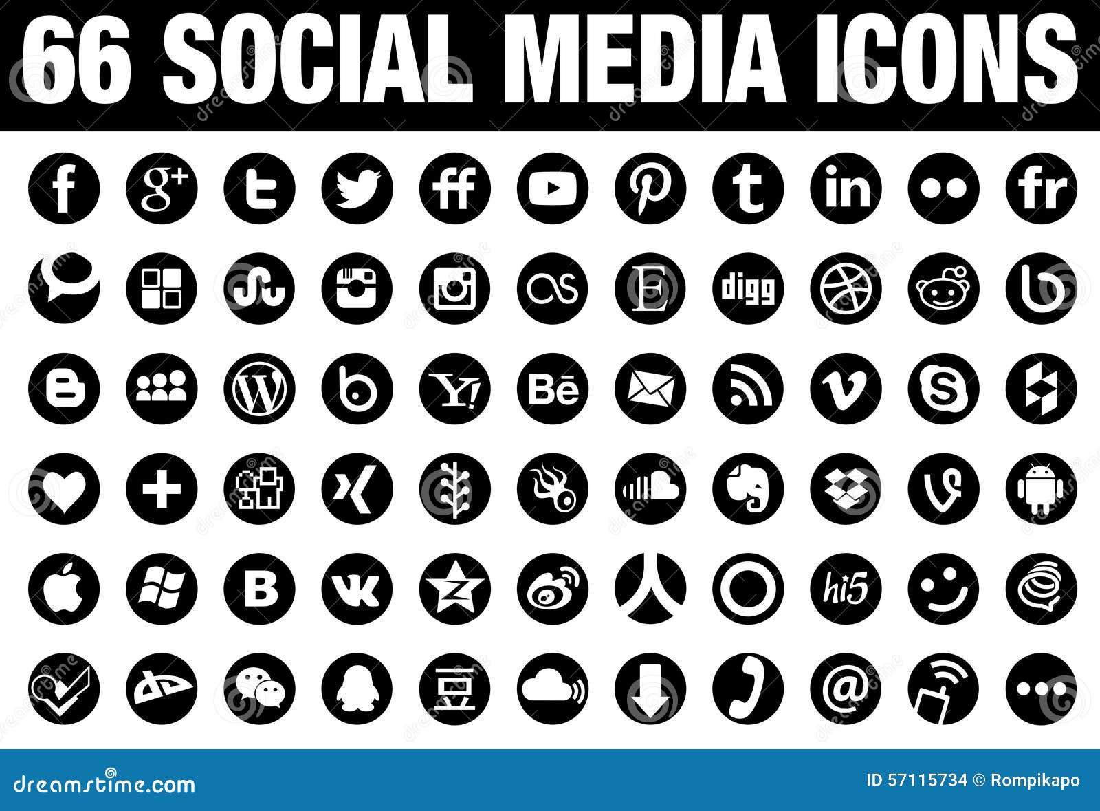 Чернота 66 значков средств массовой информации круга социальная