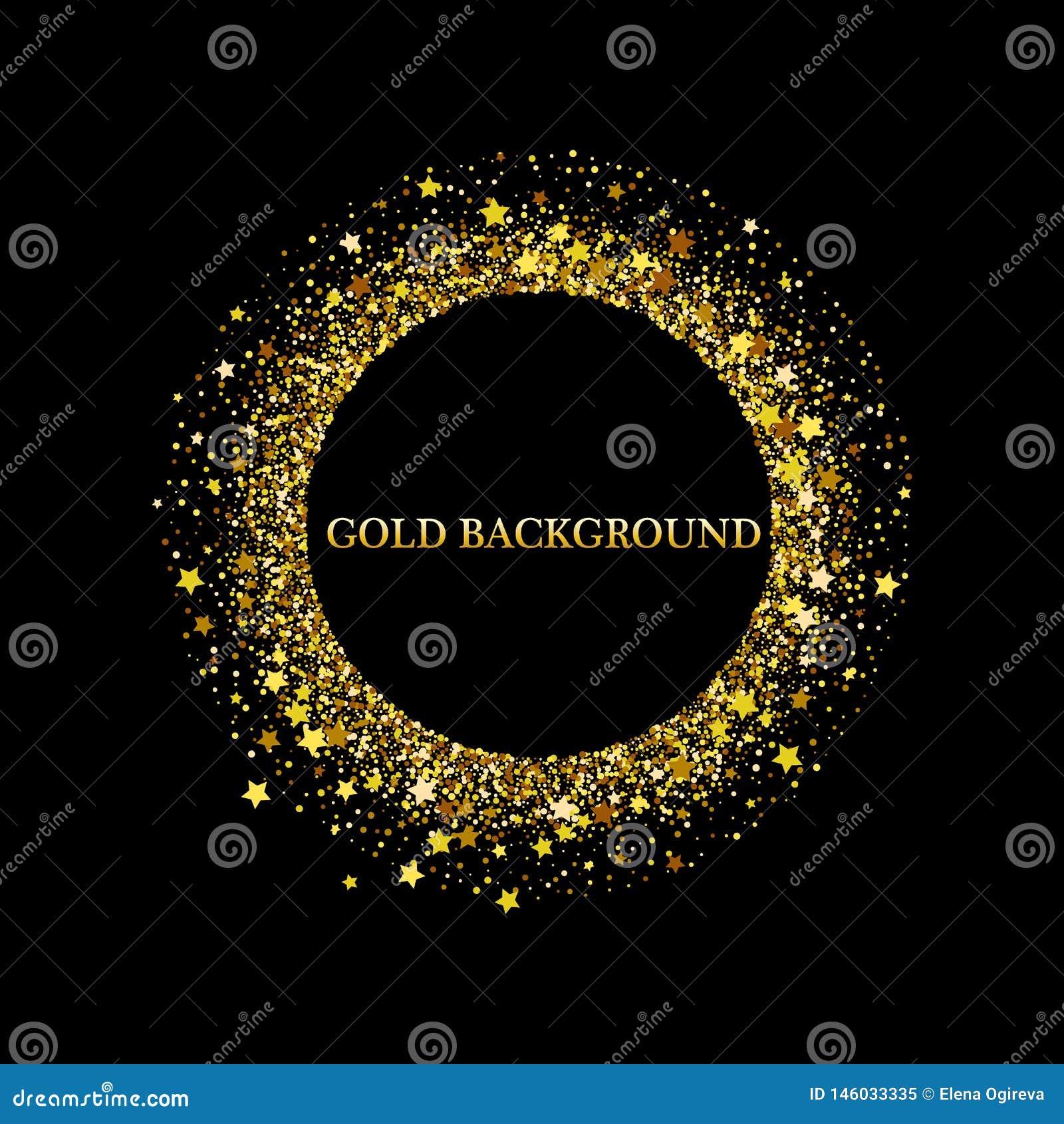 Чернота и предпосылка золота с рамкой круга и космос для текста Украшение яркого блеска вектора, золотая пыль