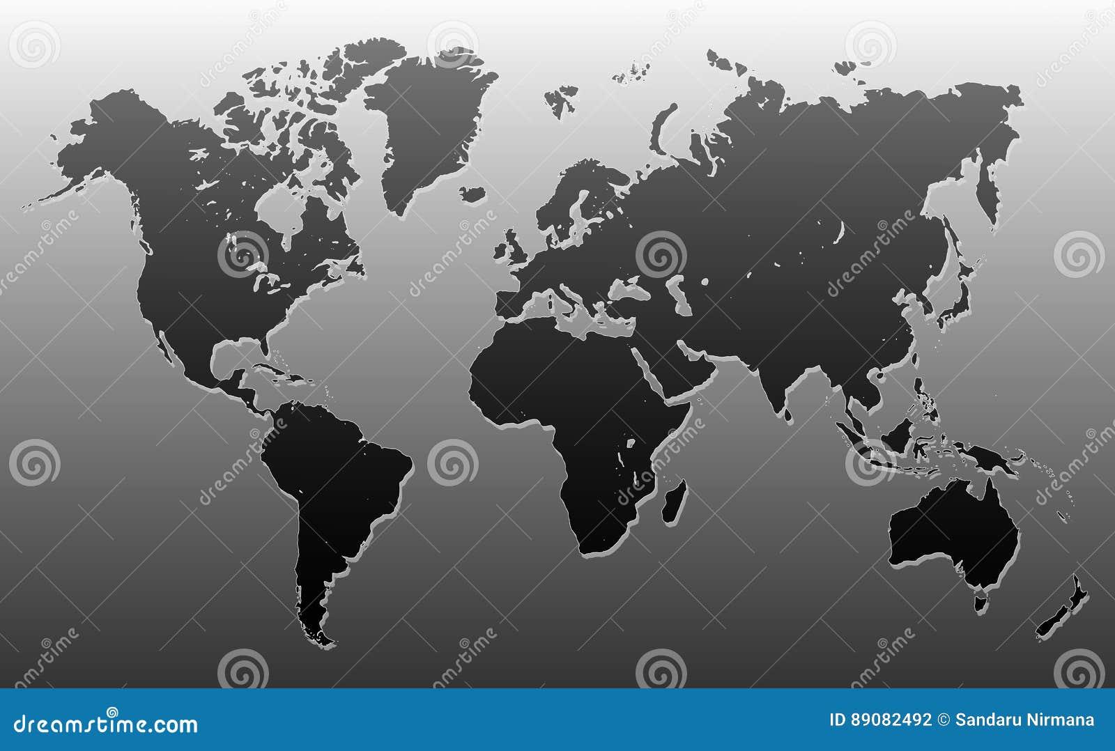 Чернота и серый цвет карты мира