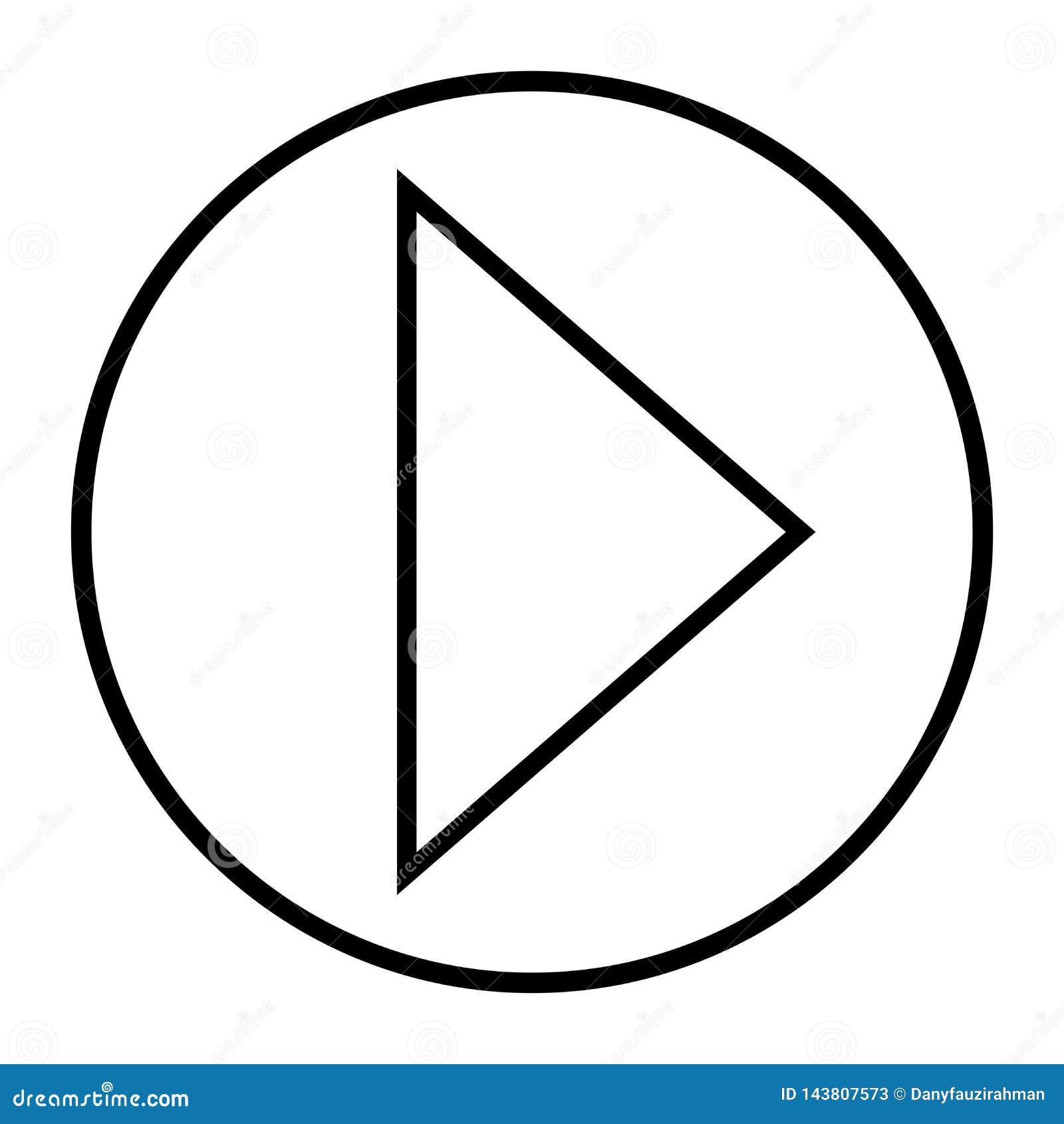Чернота кнопки игры значка стрелки передняя в белом плане предпосылки
