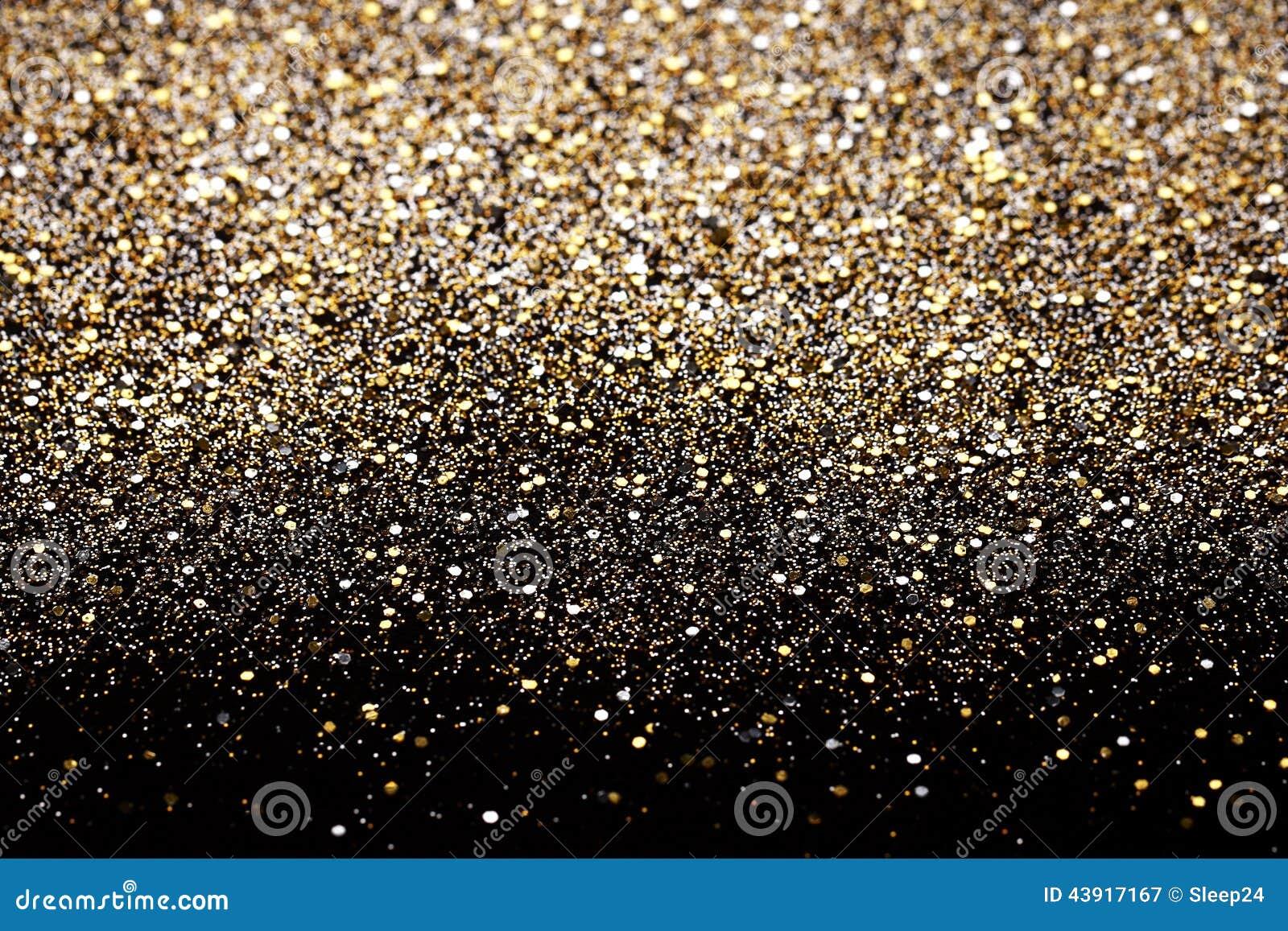 Чернота Нового Года рождества и предпосылка яркого блеска золота Ткань текстуры праздника абстрактная
