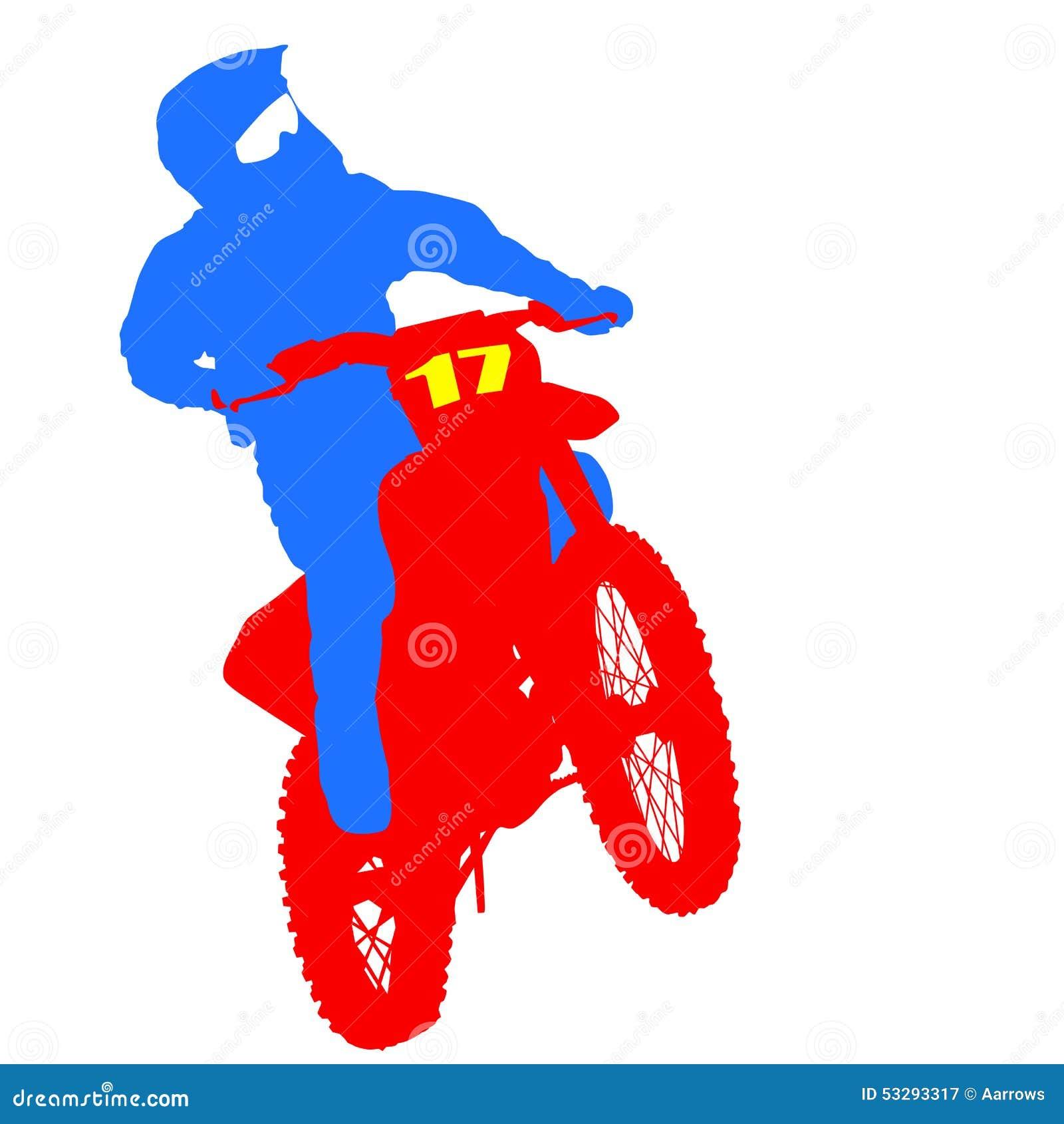 Чернота silhouettes всадник Motocross на мотоцикле