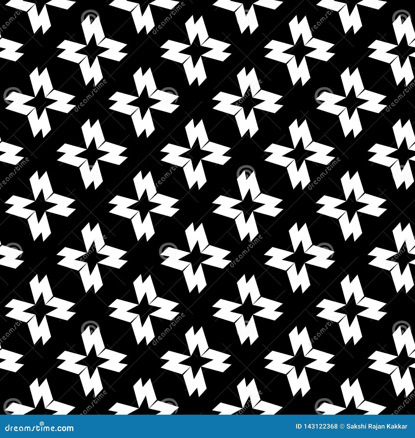 Черно-белая абстрактная предпосылка вектора и безшовный дизайн картины повторения