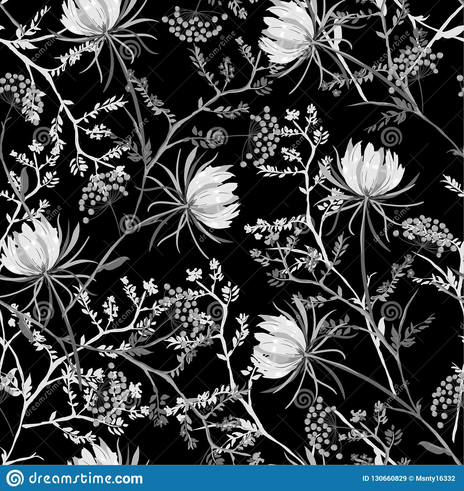 Черно-белая восточная безшовная картина мягкого и грациозного b