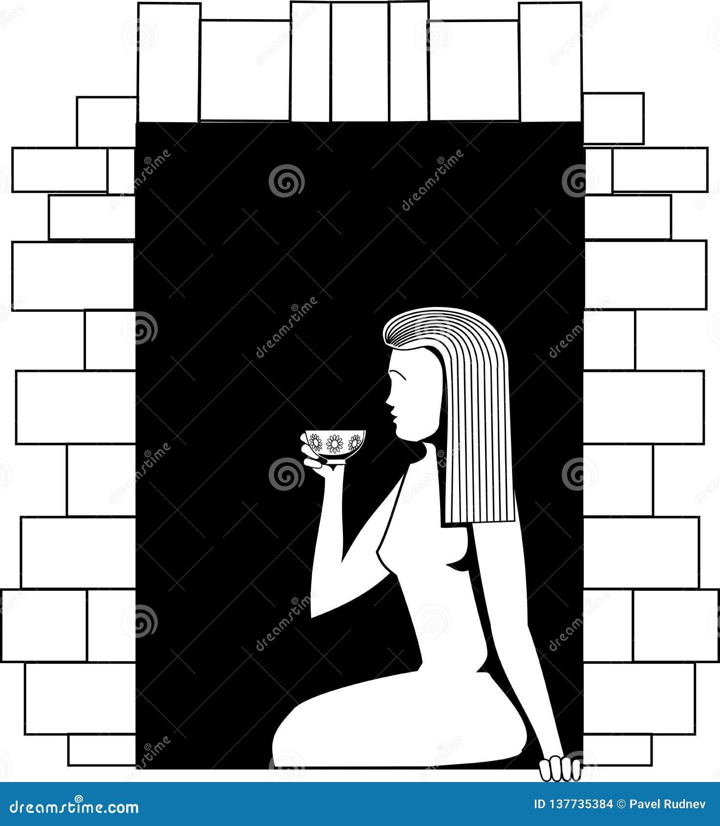 Черно-белое изображение вектора девушка сидя на окне и выпивая от чашки