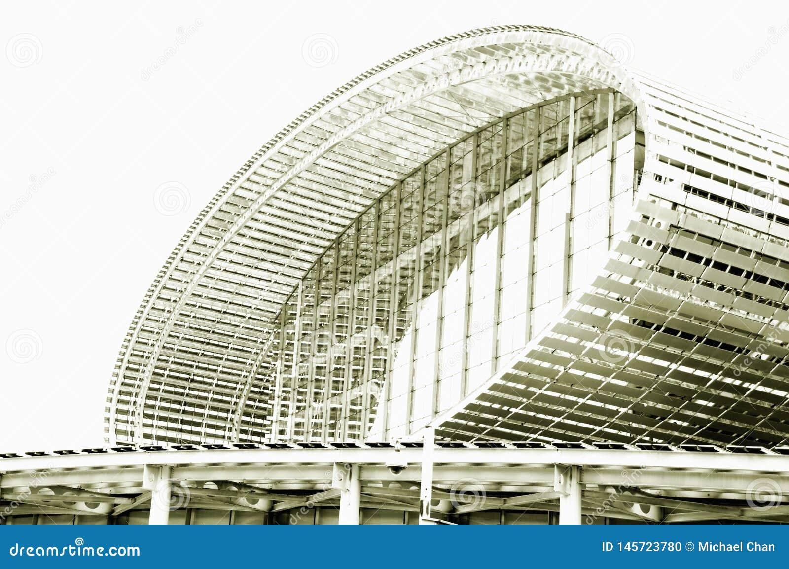Черно-белое фото, выставочный зал мира самый большой, здание, центр международной выставки Гуанчжоу Pazhou