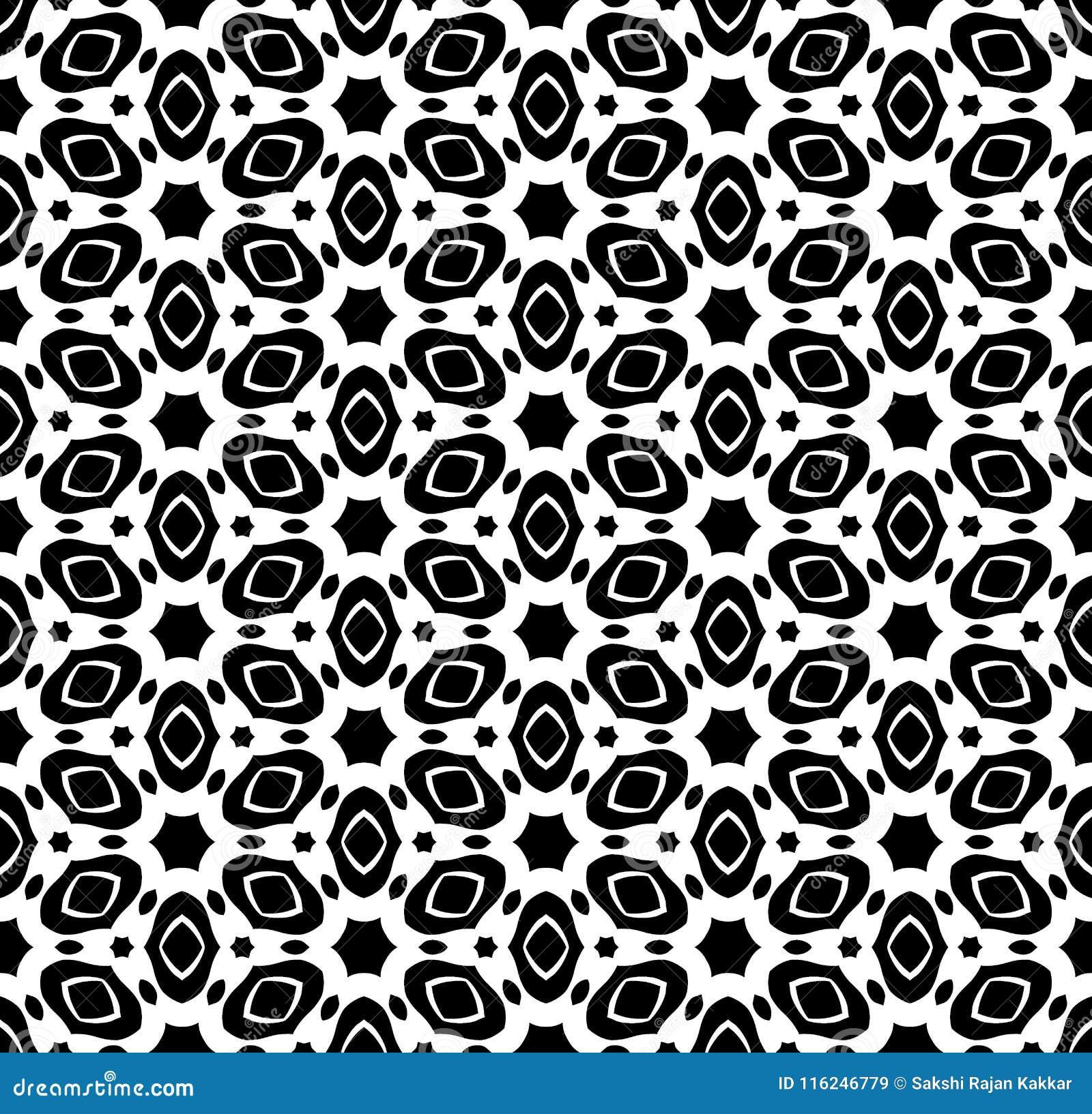 Черно-белый вектор картины повторения и безшовное фоновое изображение