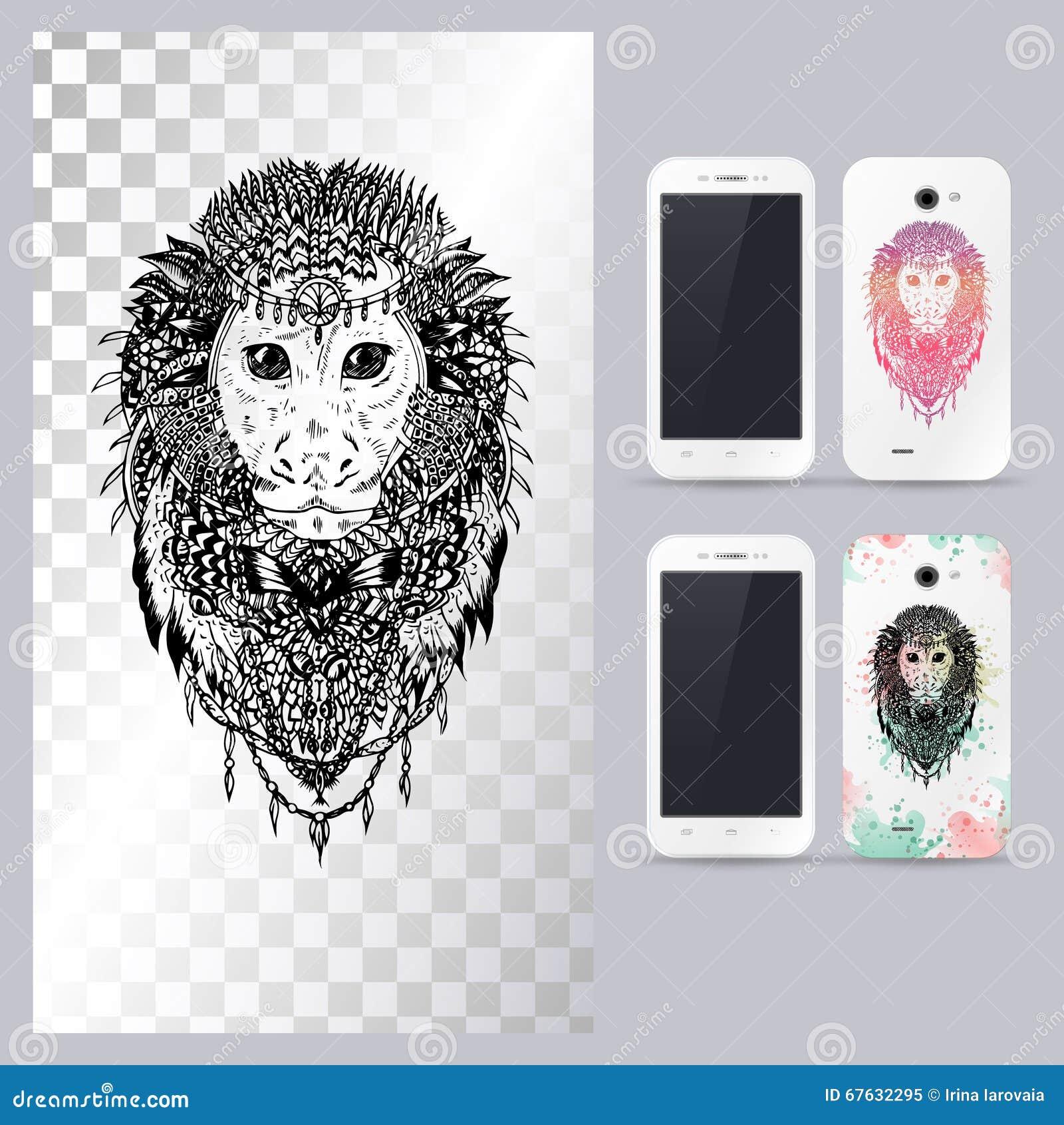 Черно-белая животная голова обезьяны Иллюстрация вектора в случай телефона