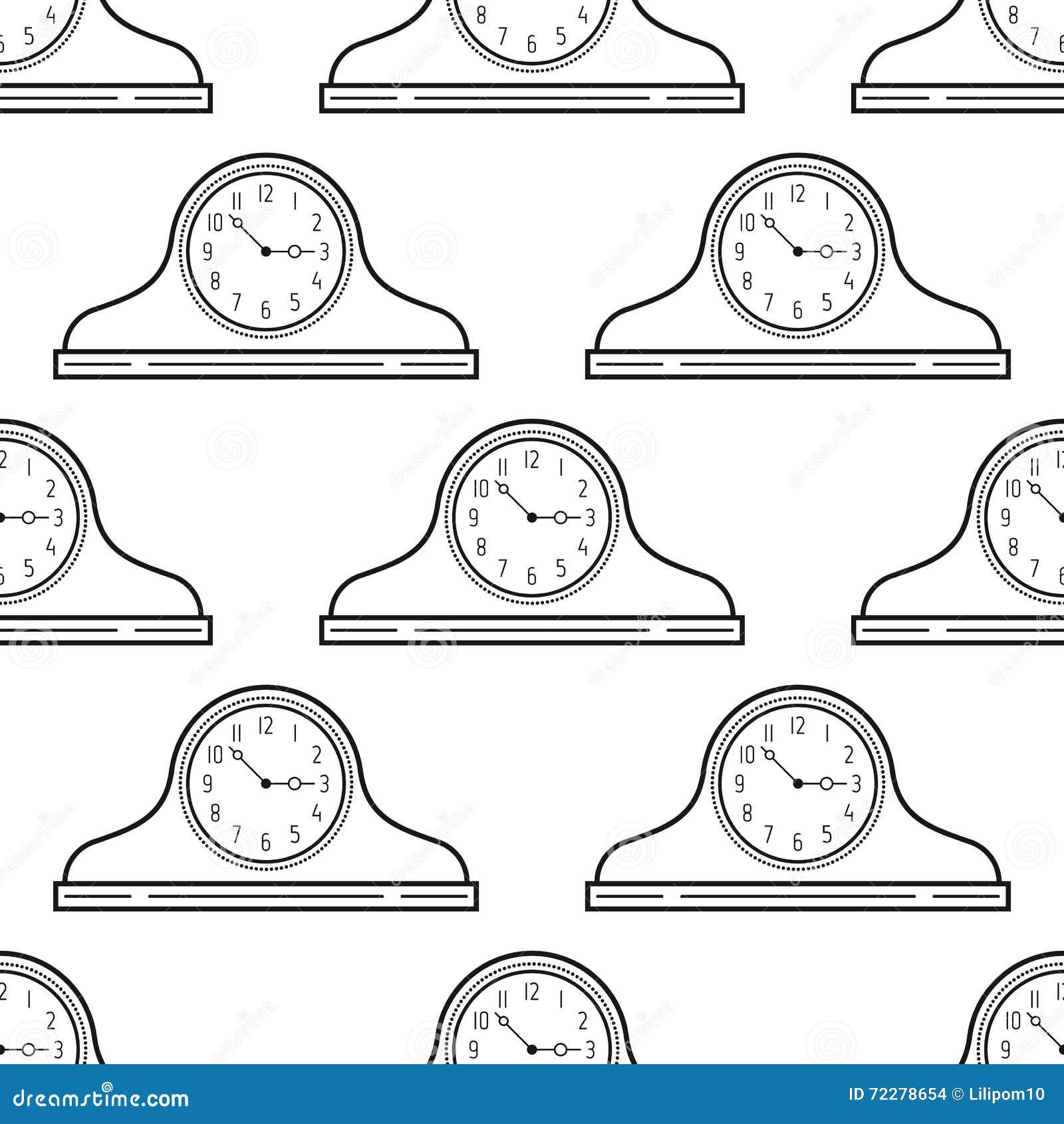 Download Черно-белые часы каминной доски картина безшовная предпосылка декоративная Иллюстрация вектора - иллюстрации насчитывающей антиквариаты, конструкция: 72278654