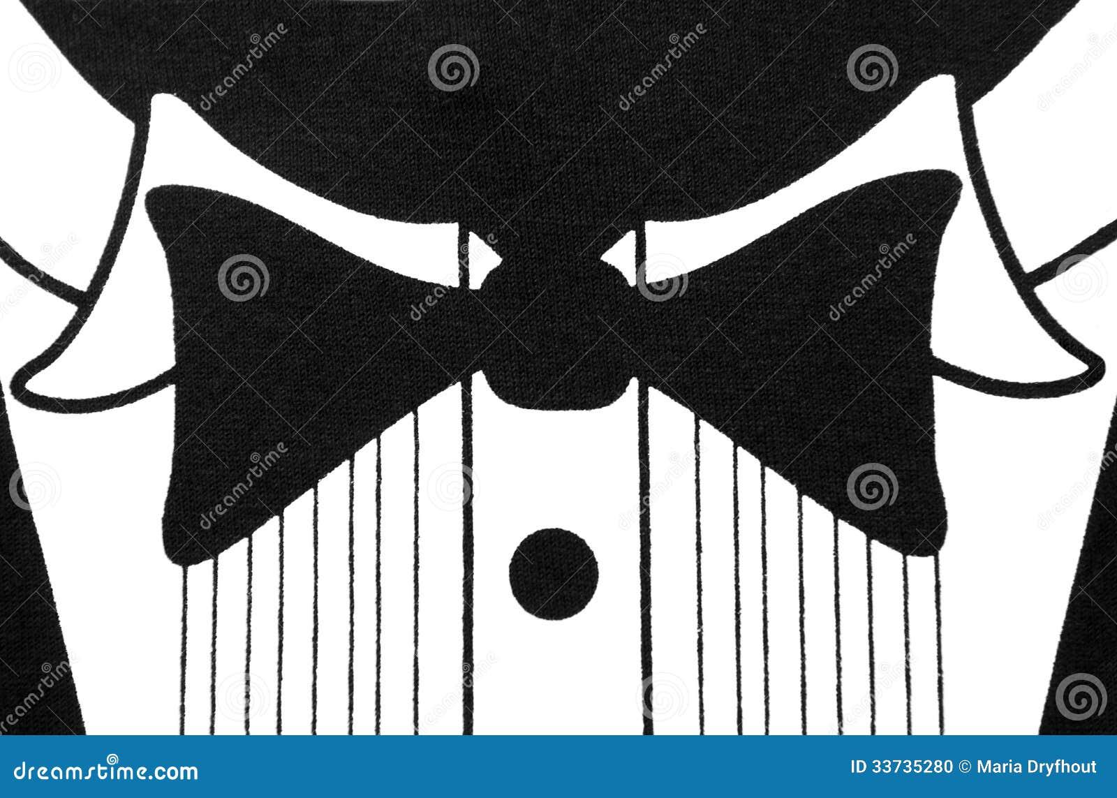 Черно-белый дизайн рубашки смокинга