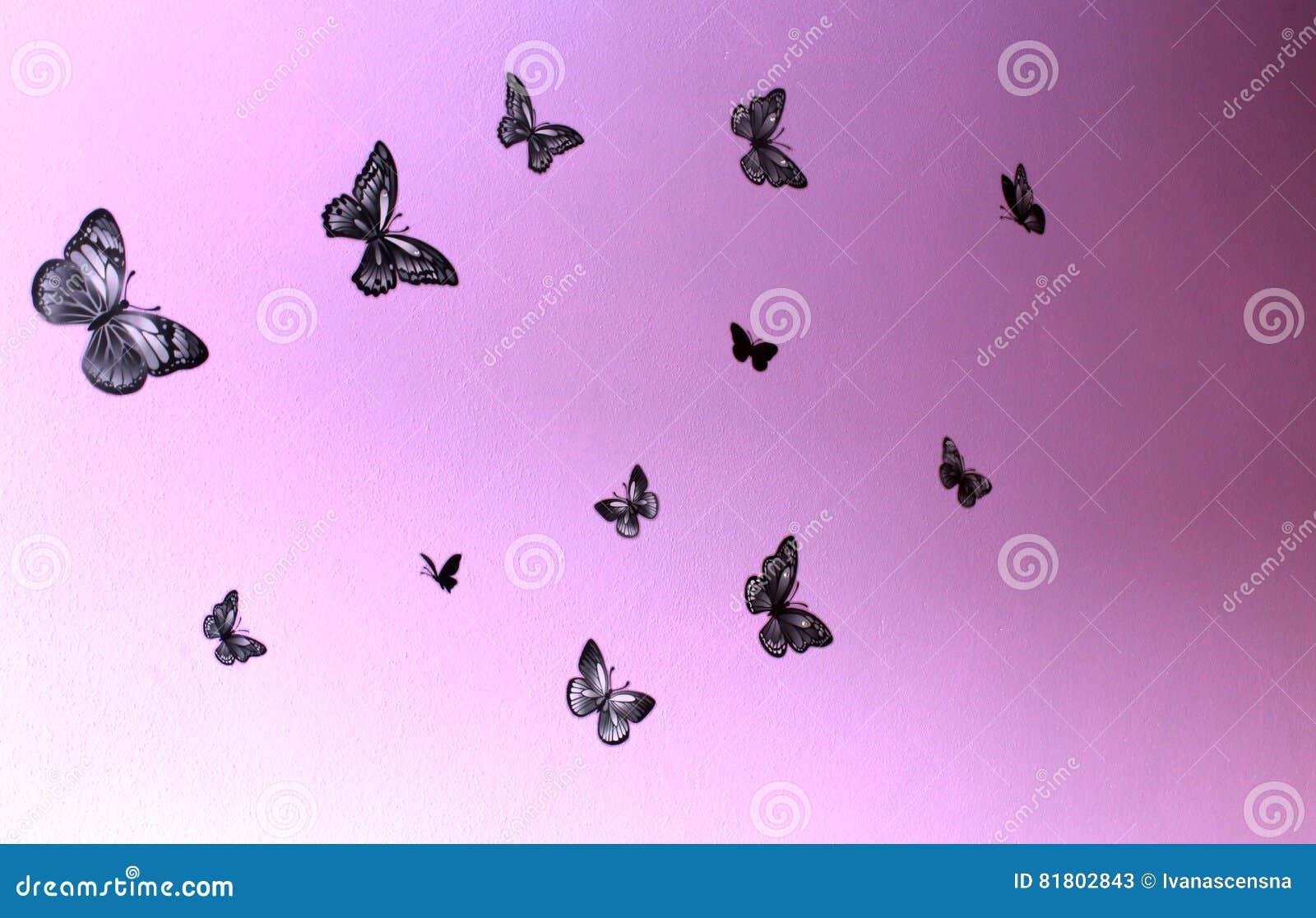 Черные бабочки летают на фиолетовую стену в различных направлениях