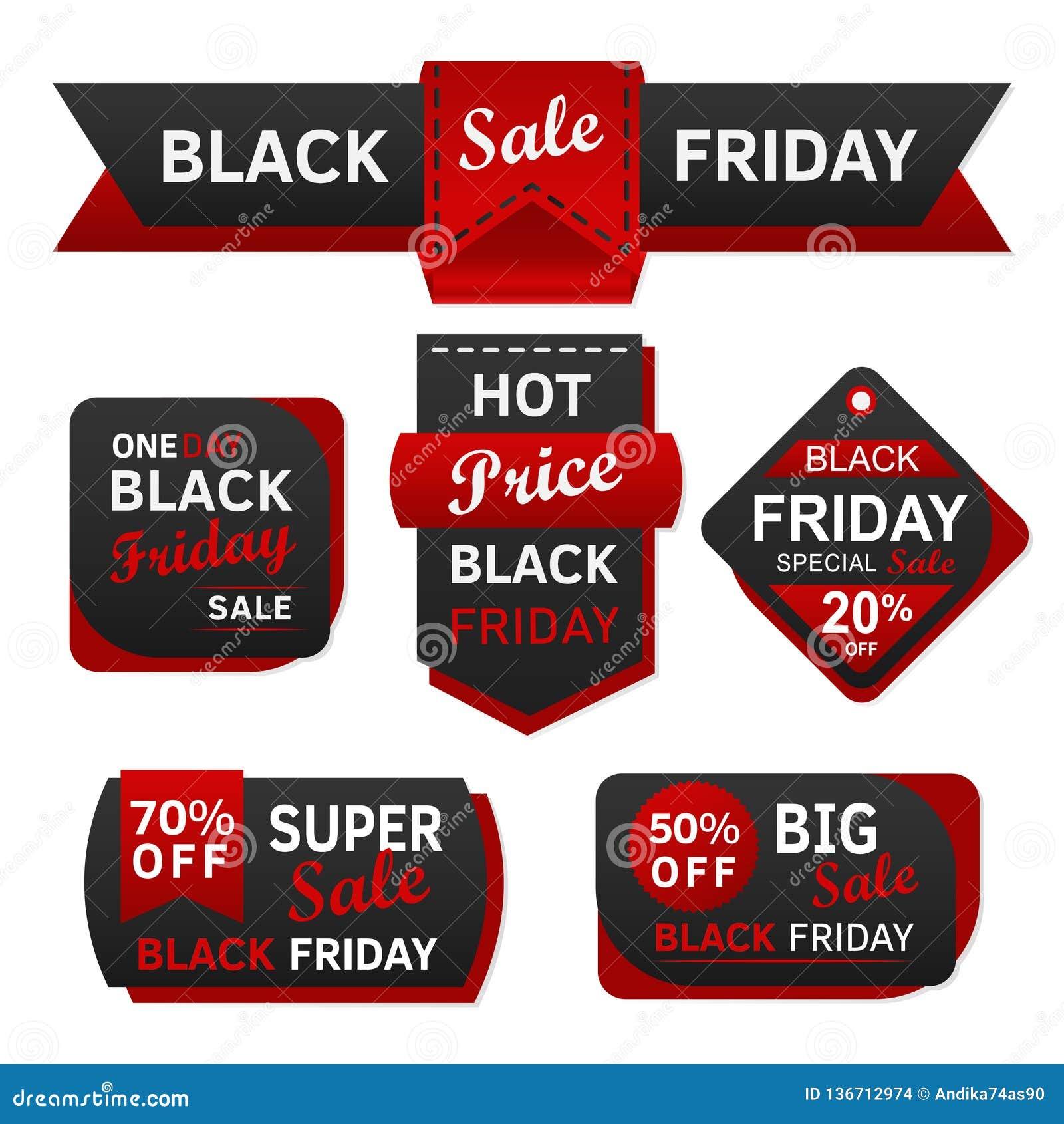 Черные бирка и ярлык продажи пятницы