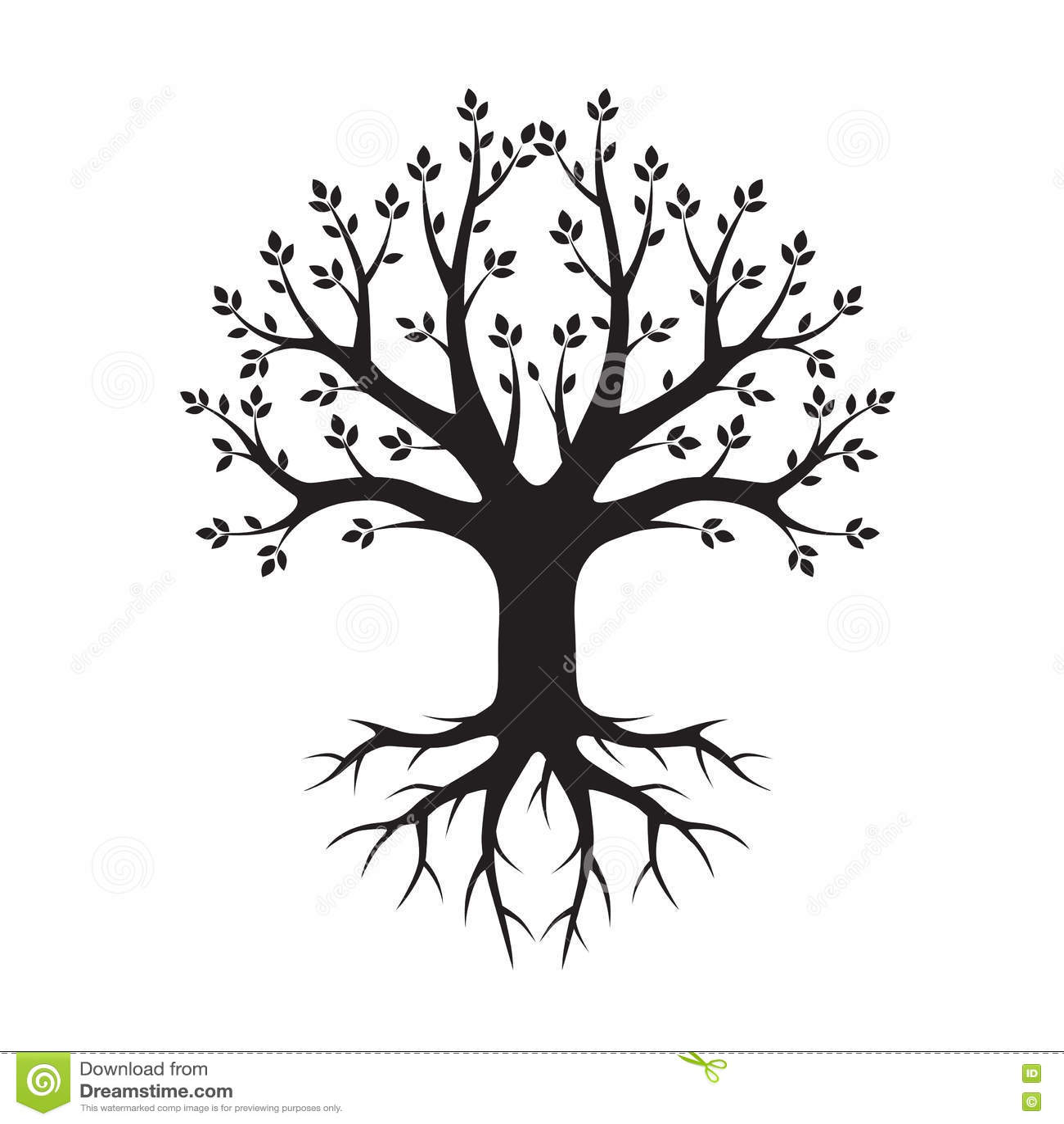 Черные дерево и корни также вектор иллюстрации притяжки corel