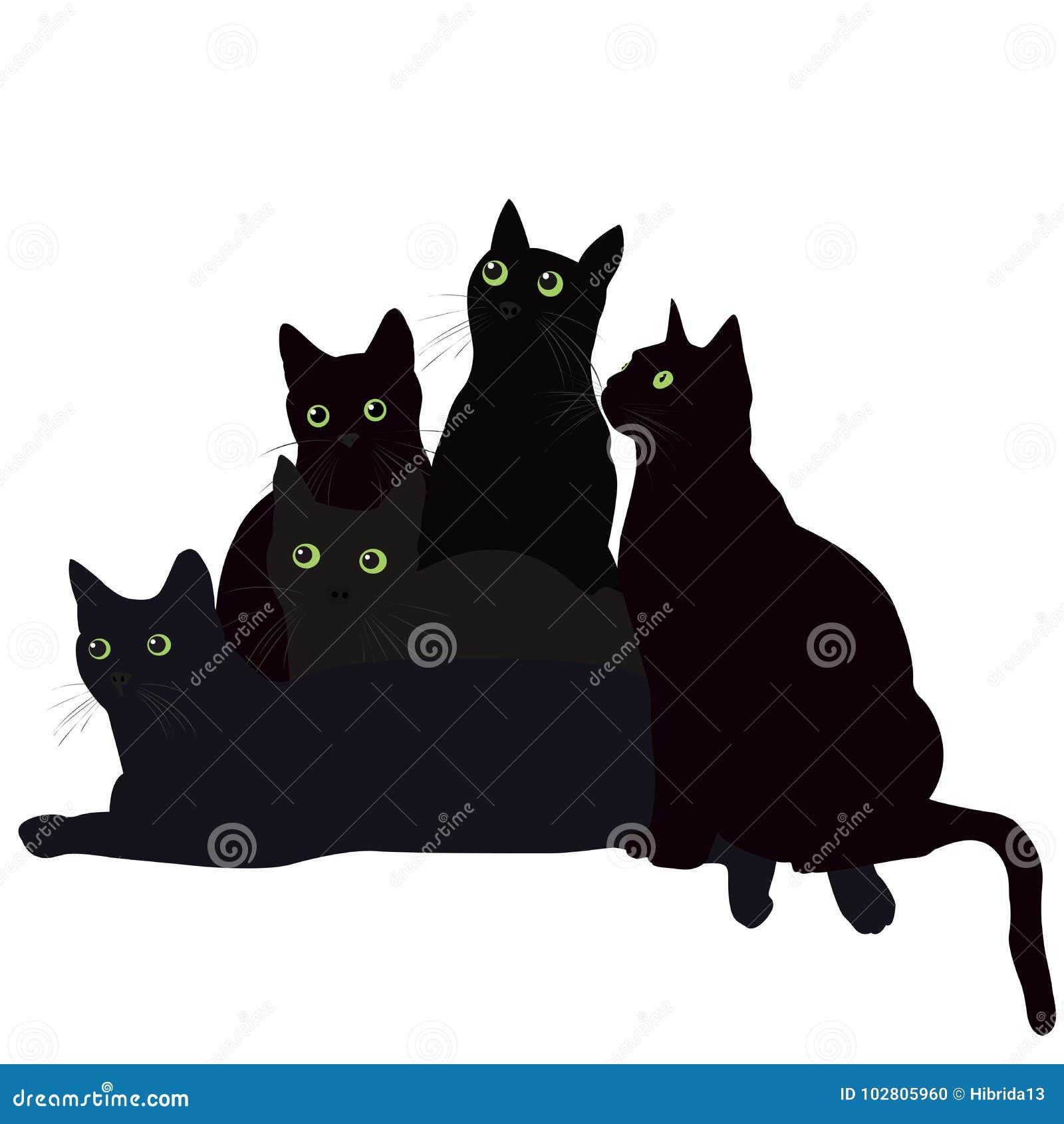 Черные коты с зелеными глазами