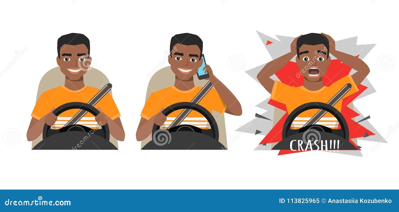 Черный Афро-американский человек управляя автомобилем Укомплектуйте личным составом управлять автомобилем говоря на телефоне Чело