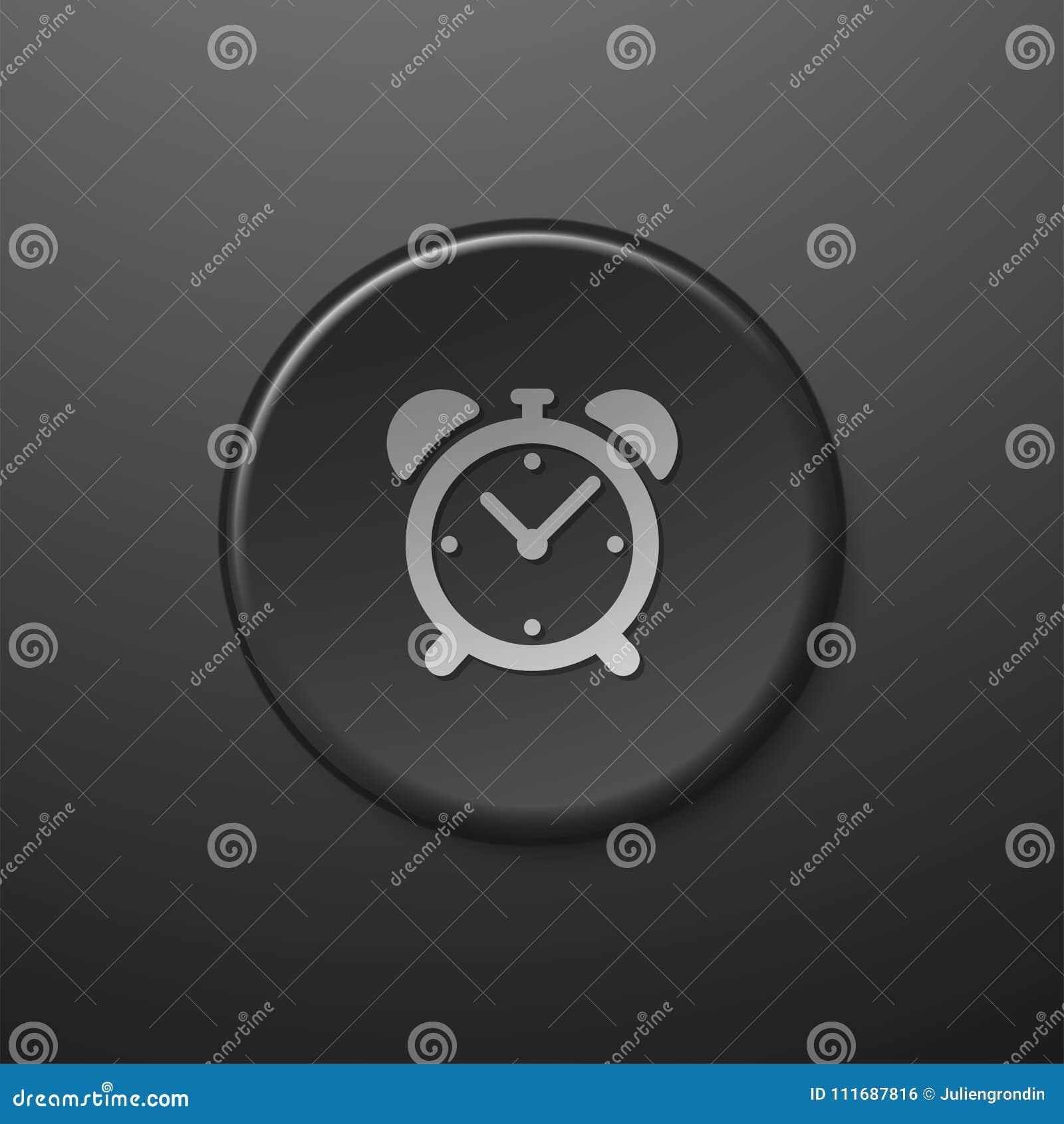 Черный будильник значка сети