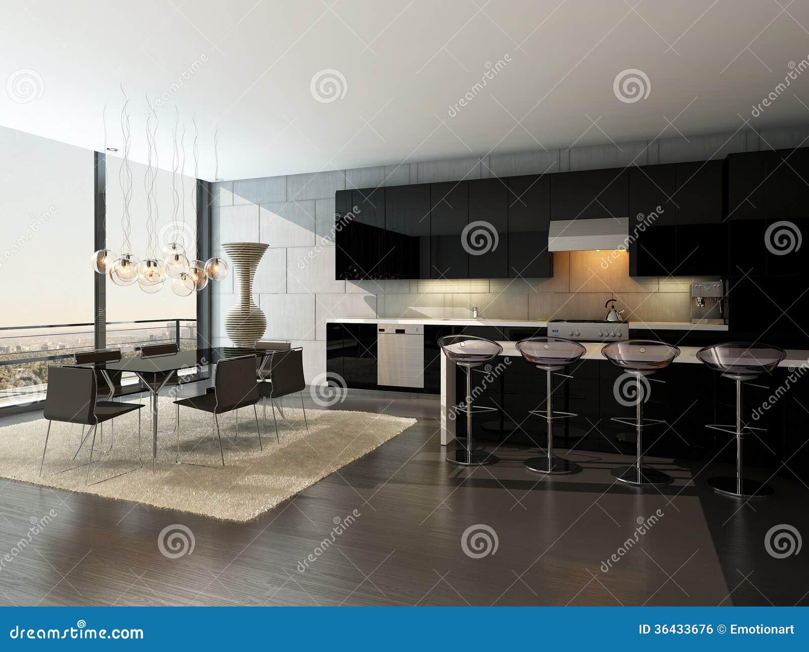 Черный интерьер кухни с барными стулами и обеденным столом