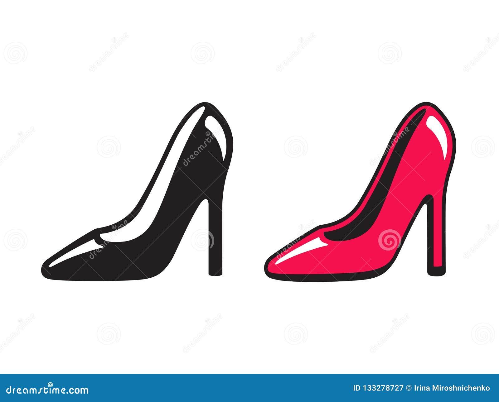 Черный и красный ботинок высокой пятки