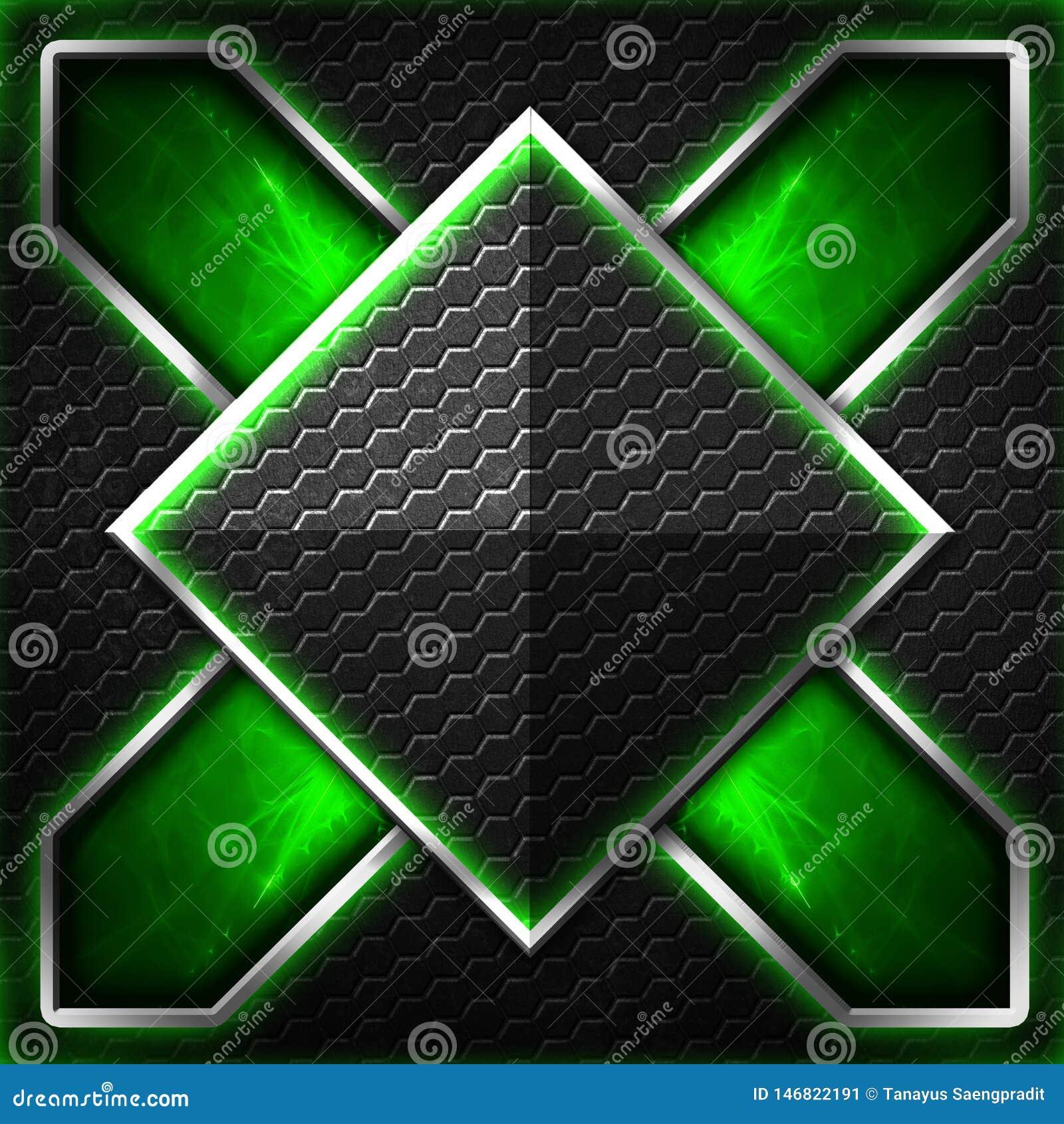Черный кадр шестиугольника x на зеленом цвете и белом свете