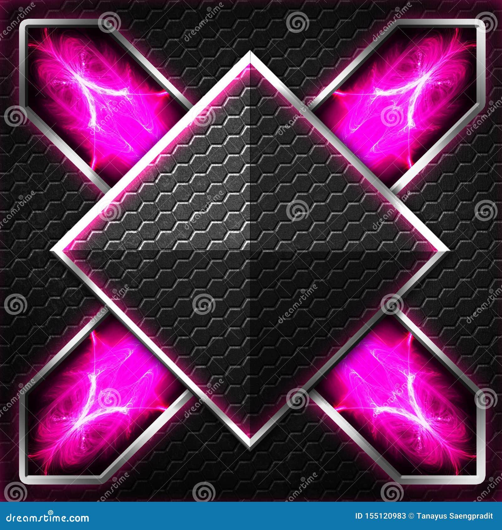 Черный кадр шестиугольника x на пурпуре и белом свете