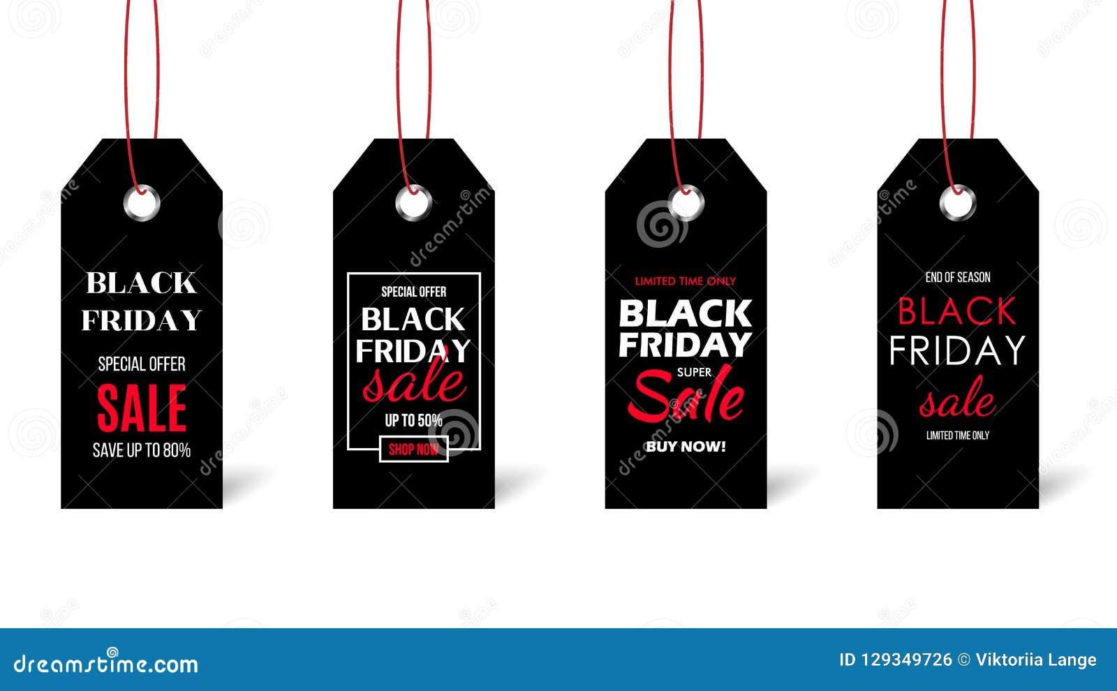 Черный комплект ценника пятницы изолированный на белой предпосылке Ярлыки черноты с текстом продажи