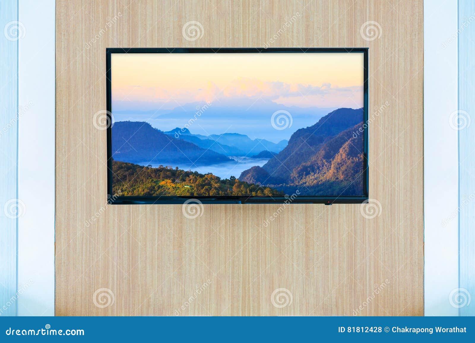 Черный модель-макет экрана телевизора ТВ СИД Ландшафт на мониторе