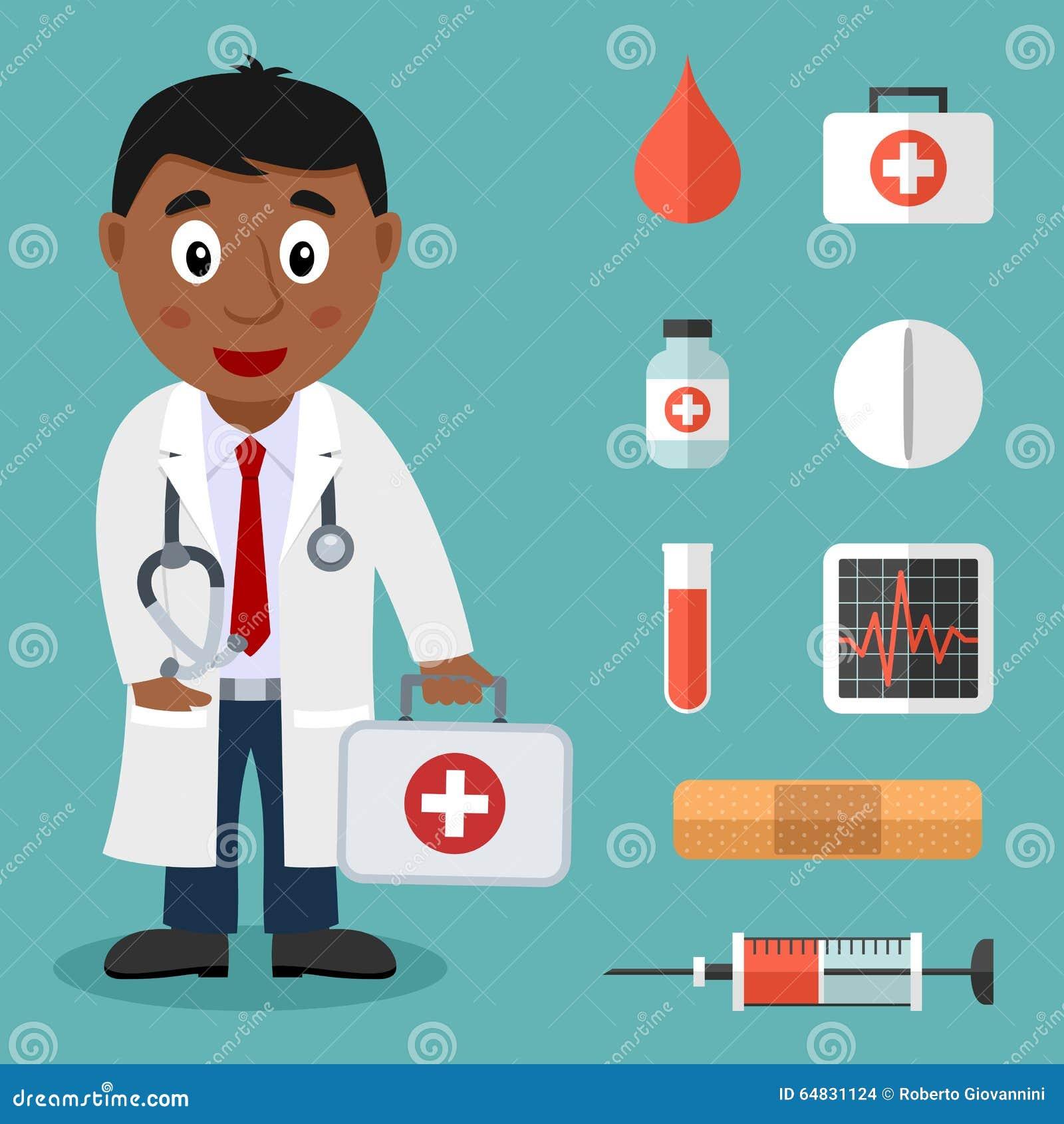 Черный мужской доктор и плоские медицинские значки