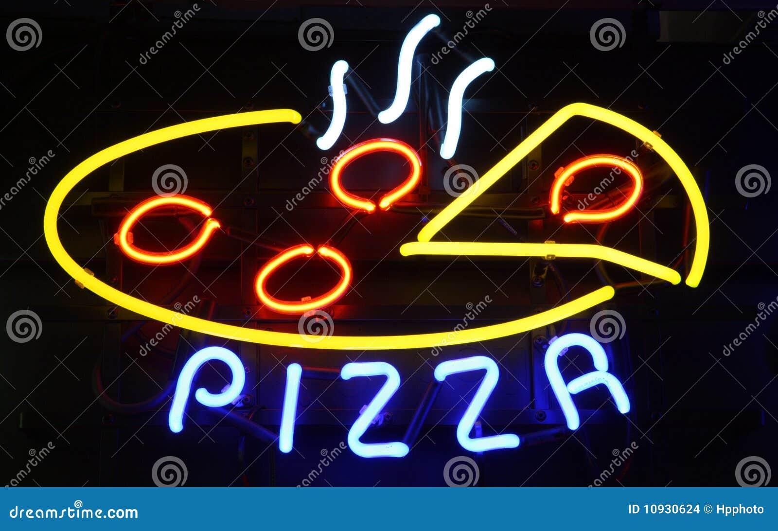 черный неоновый знак пиццы