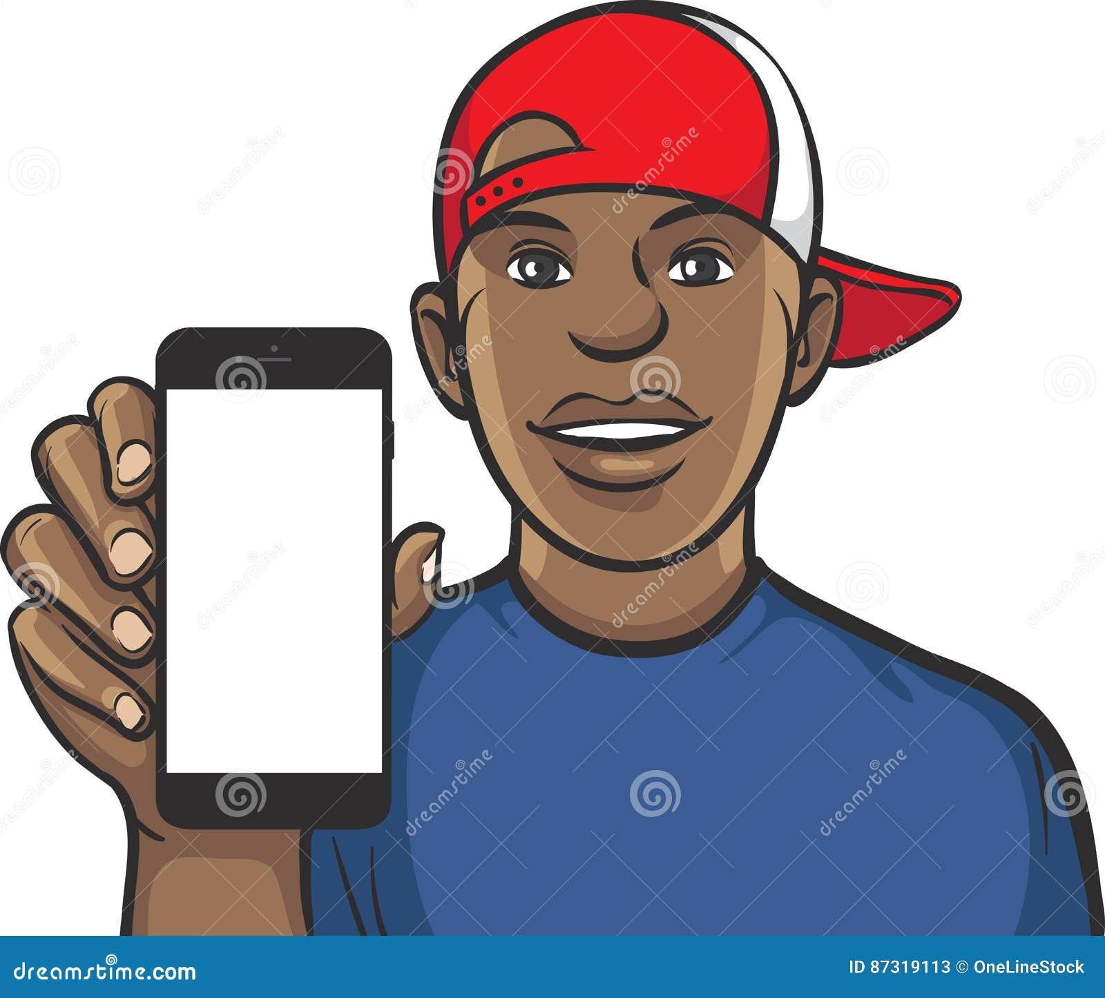 Черный парень в крышке показывая передвижной app на умном телефоне