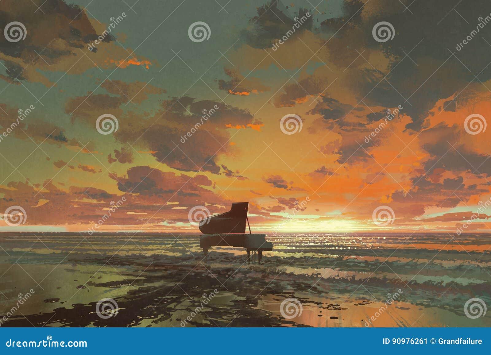 черный рояль на пляже на заходе солнца