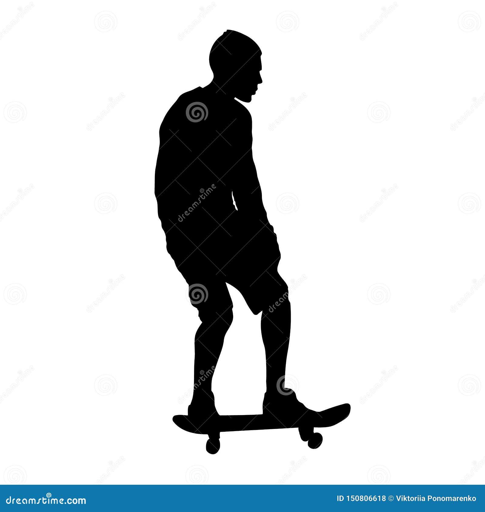 Черный силуэт скейтбордиста изолированный на белой предпосылке